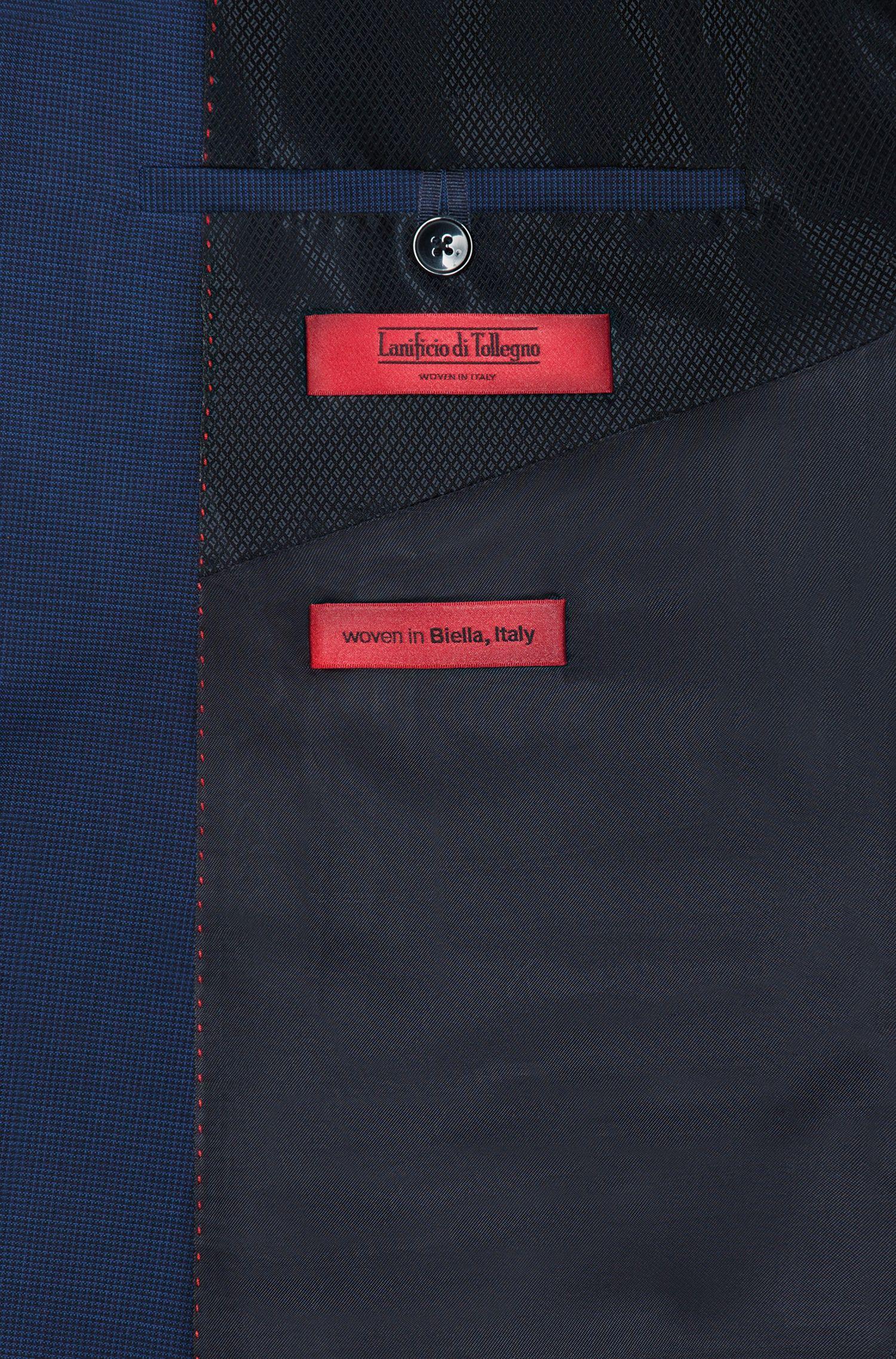 Slim-fit kostuum van scheerwol met microruitdessin
