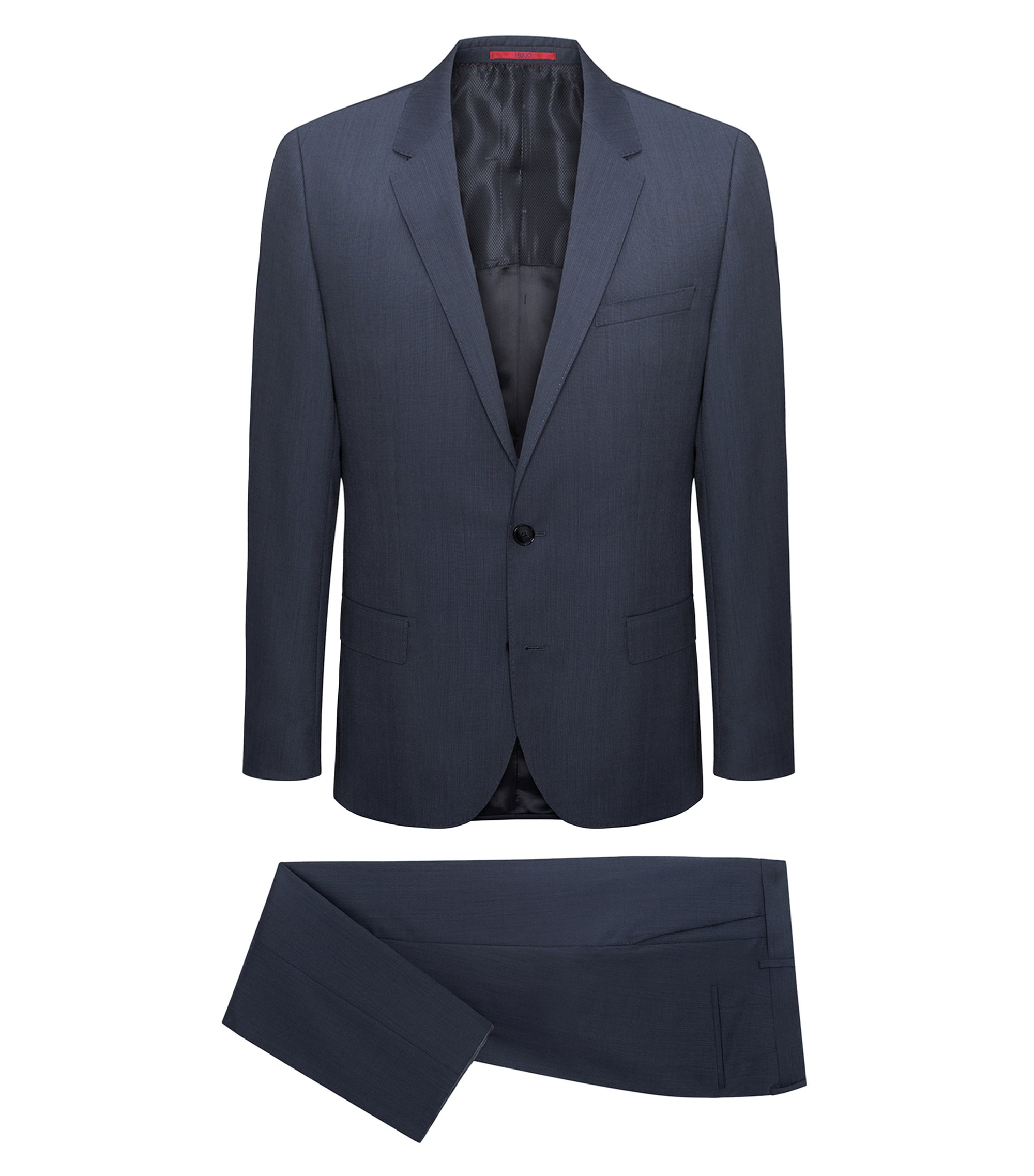 Slim-fit graph-check suit in yarn-dyed virgin wool, Anthracite