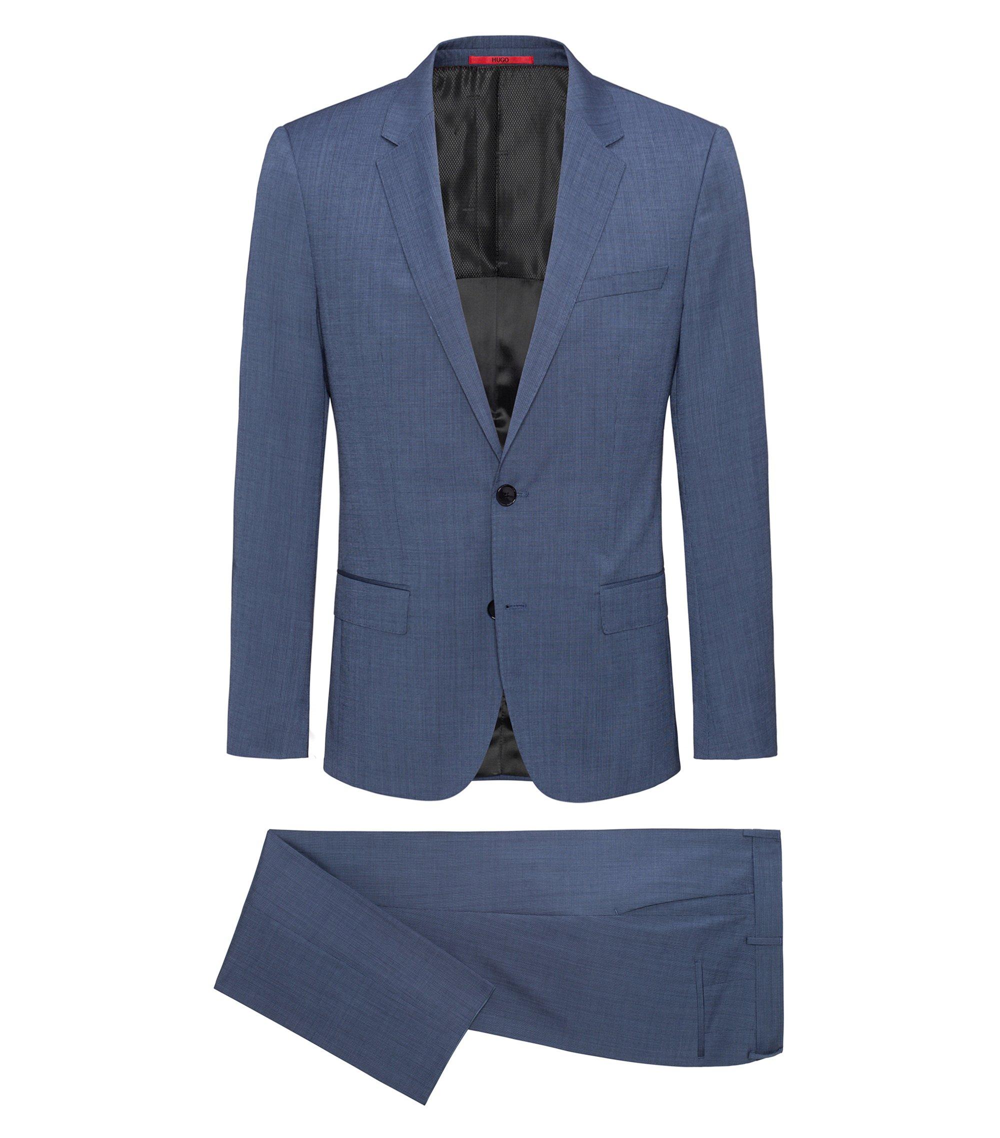 Karierter Slim-Fit Anzug aus garngefärbter Schurwolle, Türkis