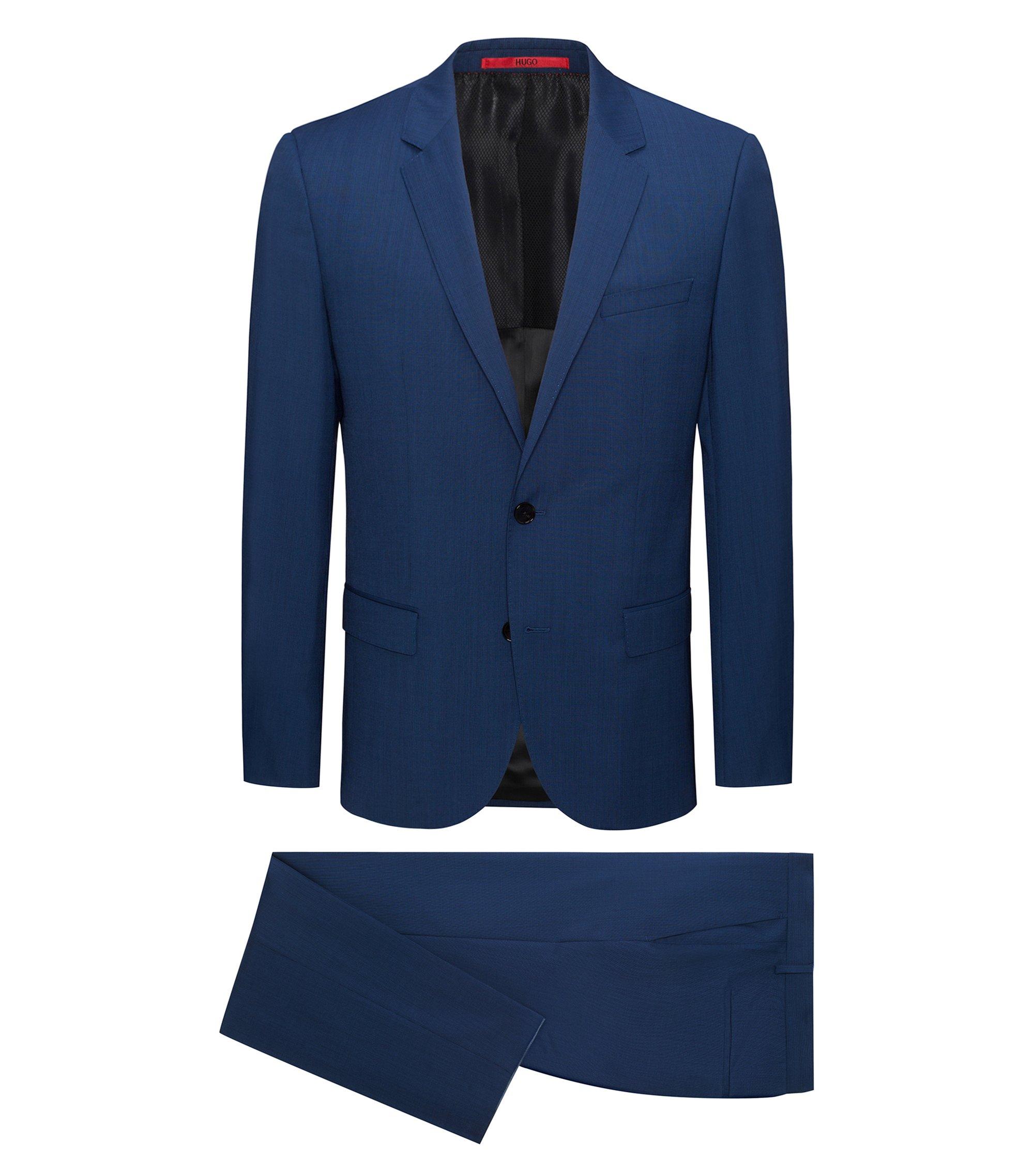 Slim-fit kostuum van geverfd scheerwolgaren met grafisch ruitdessin, Lichtblauw