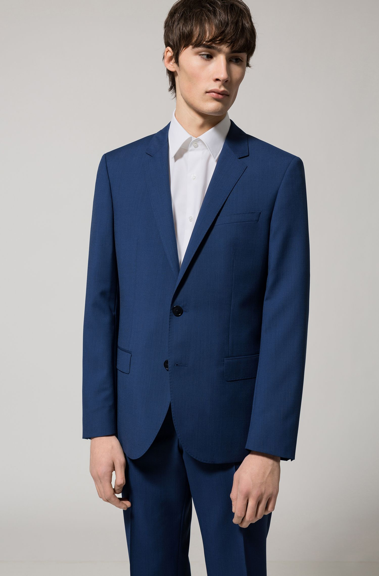 Slim-fit graph-check suit in yarn-dyed virgin wool
