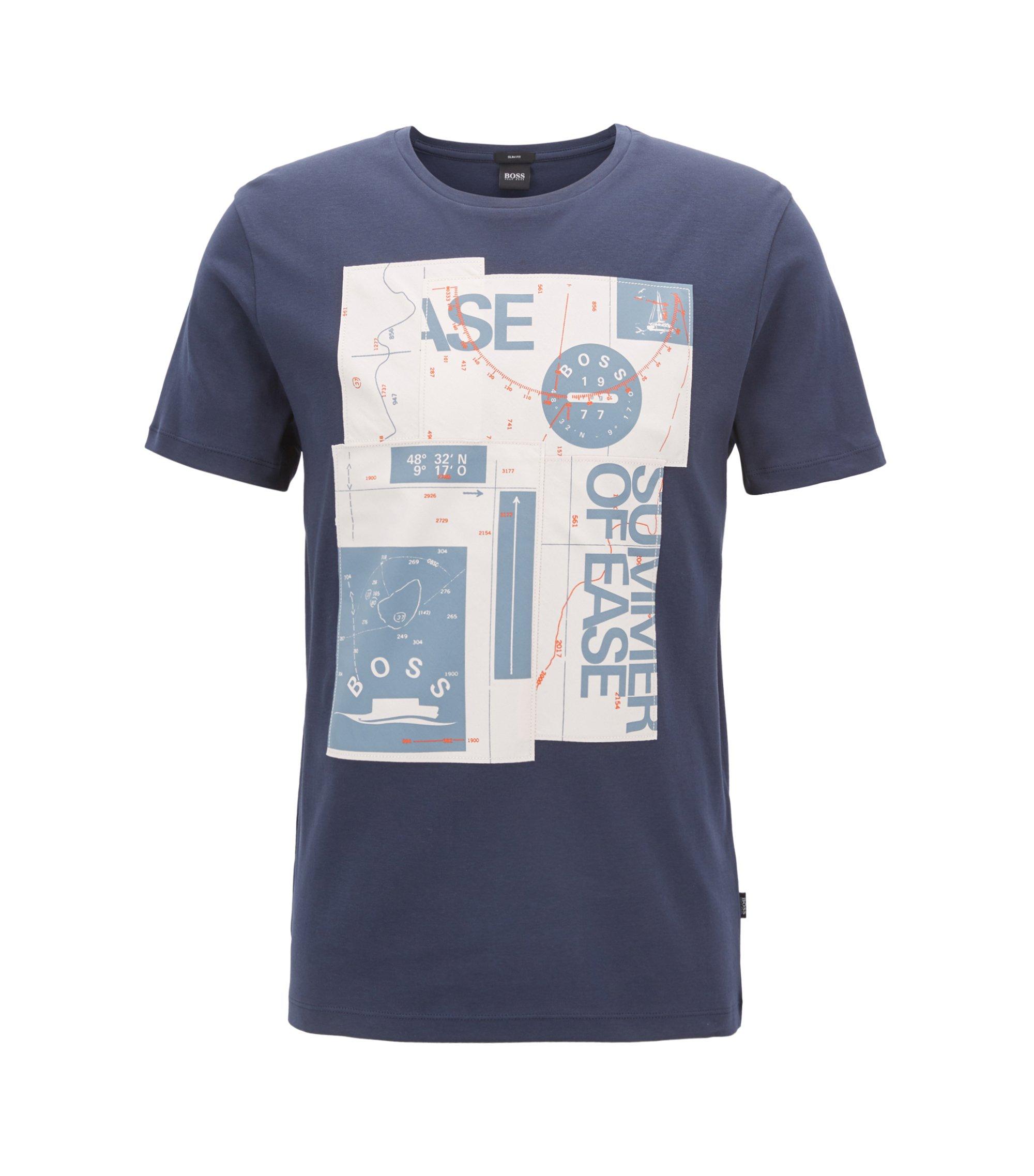 Camiseta slim fit con estampado náutico en algodón interlock, Azul oscuro