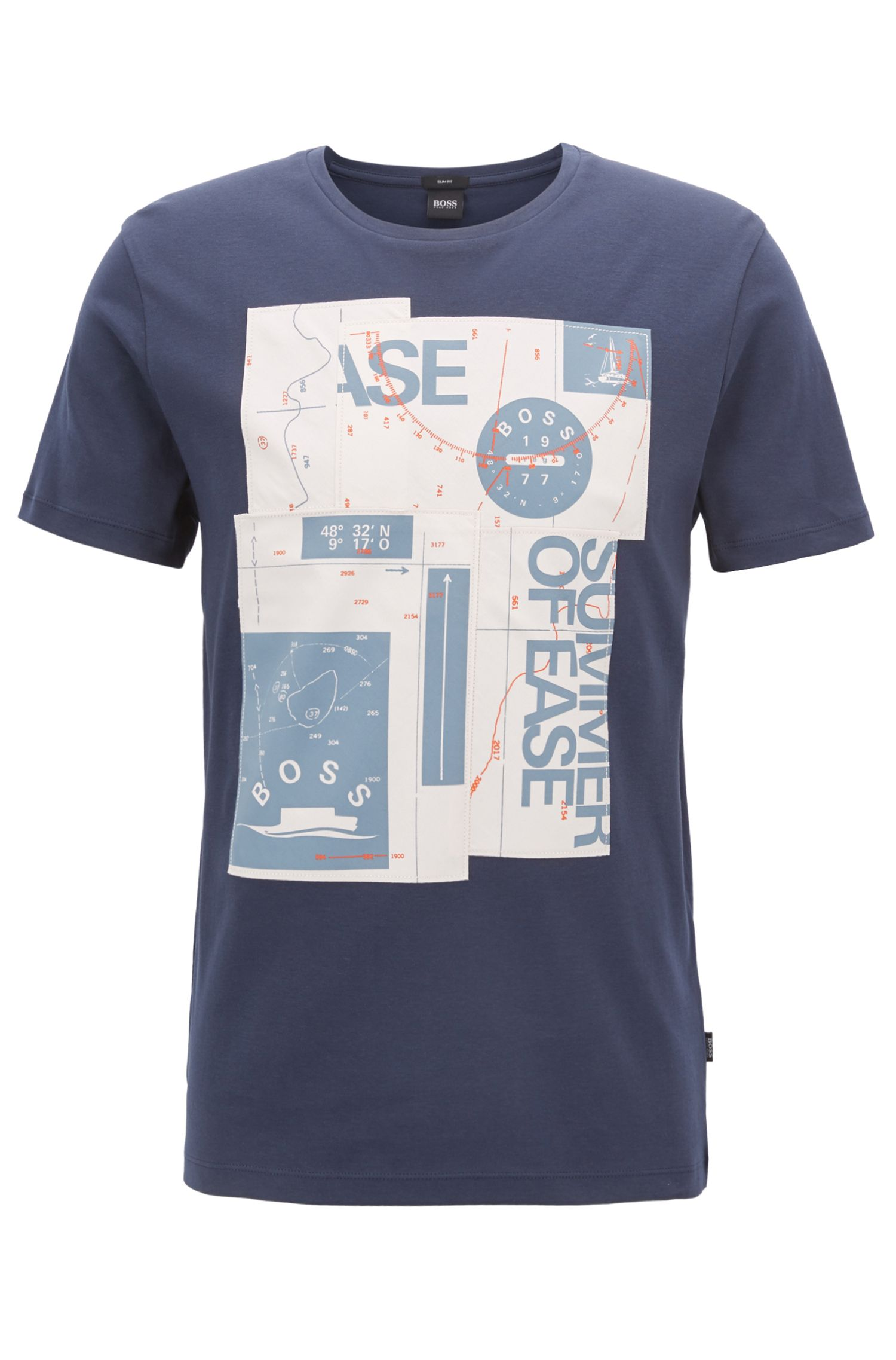 Slim-fit nautical-print T-shirt in interlock cotton