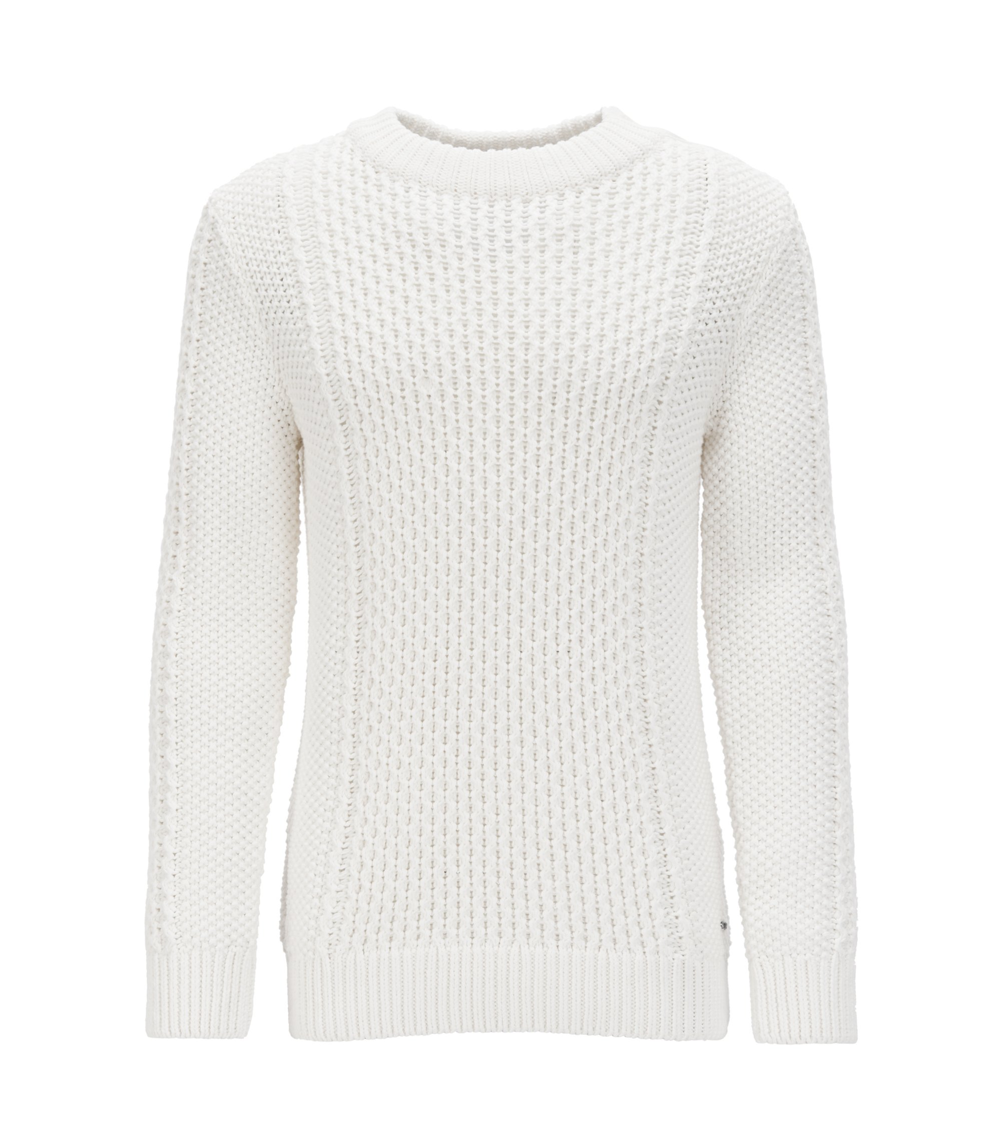 Cotton-blend cable-knit sweater with buttons, White