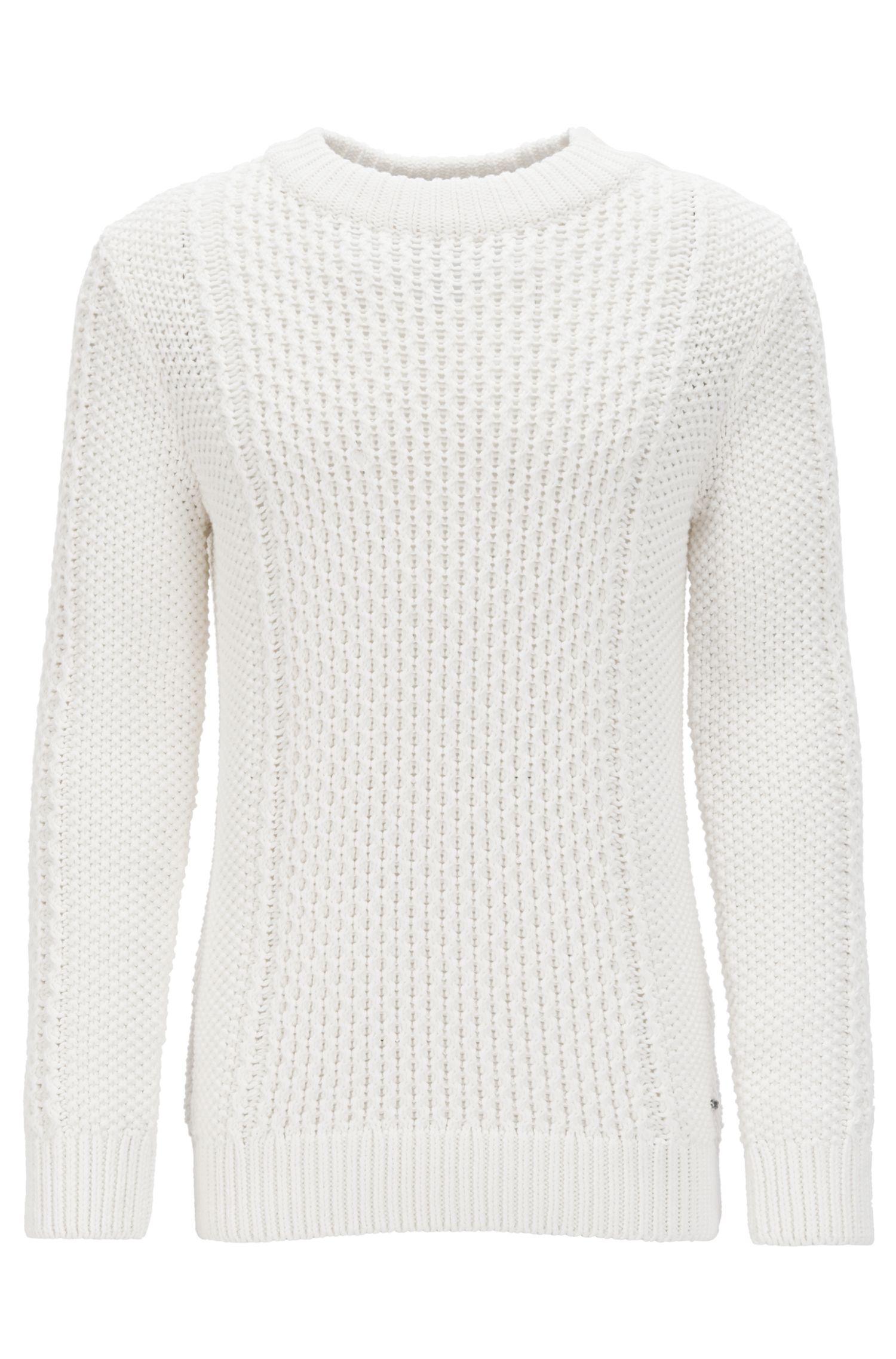 Pullover aus Baumwoll-Mix mit Zopfstrick-Muster und Knöpfen