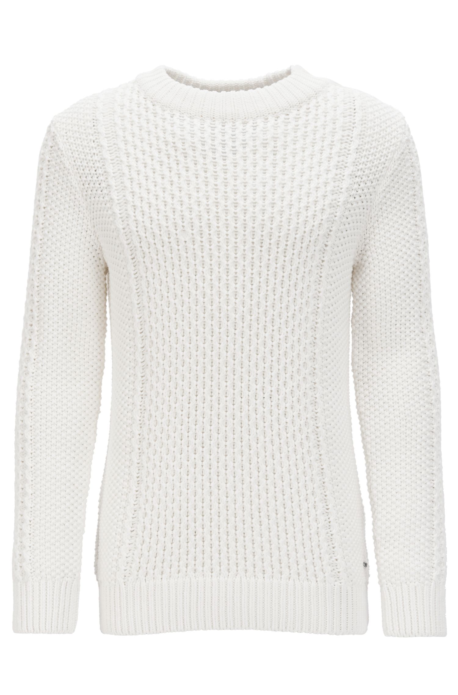 Cotton-blend cable-knit sweater with buttons