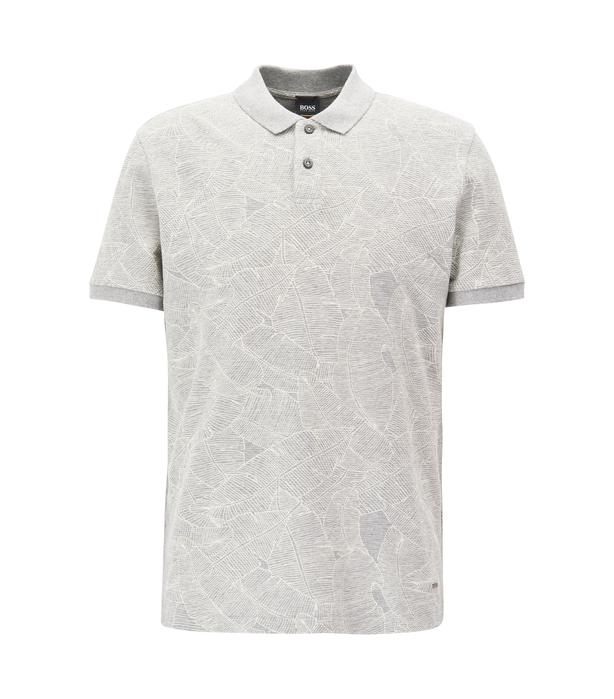 Polo Relaxed Fit en coton imprimé, Gris chiné