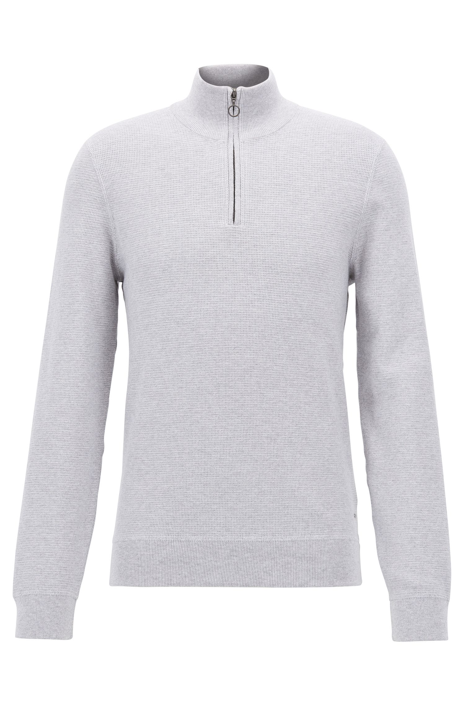 Zip-neck sweater in Italian three-ply cotton , Light Grey