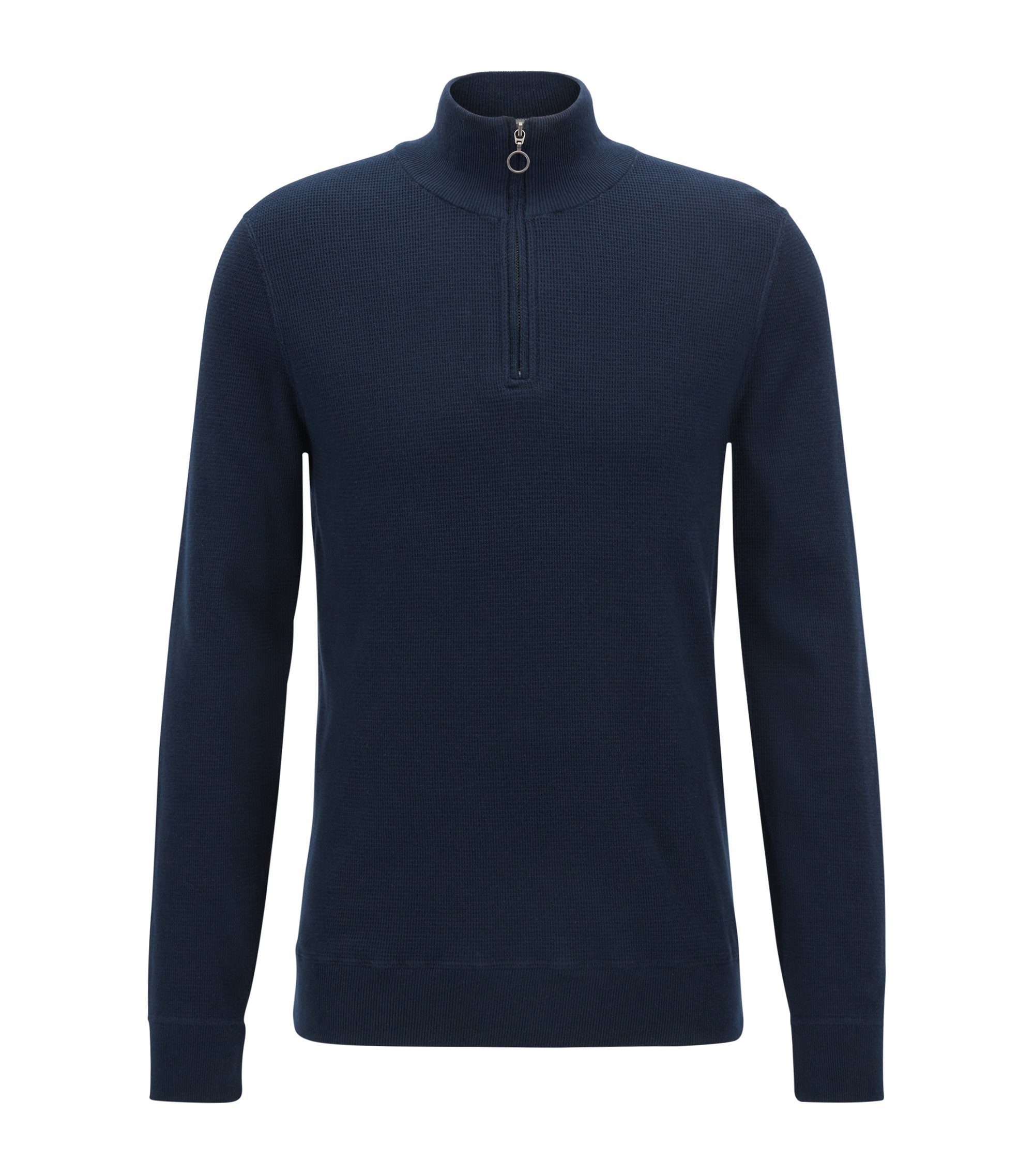 Zip-neck sweater in Italian three-ply cotton , Dark Blue