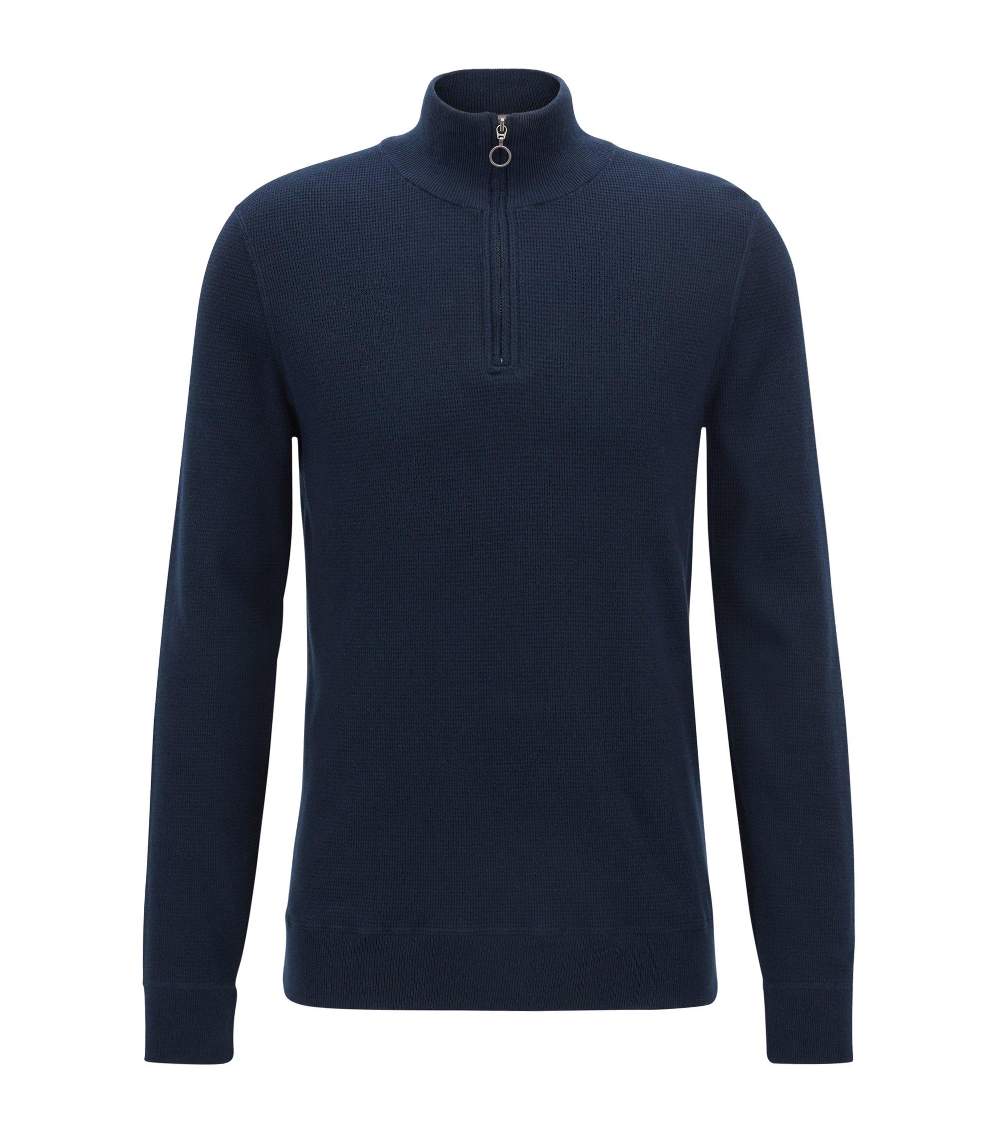 Jersey en algodón italiano de tres capas con cremallera en el cuello , Azul oscuro