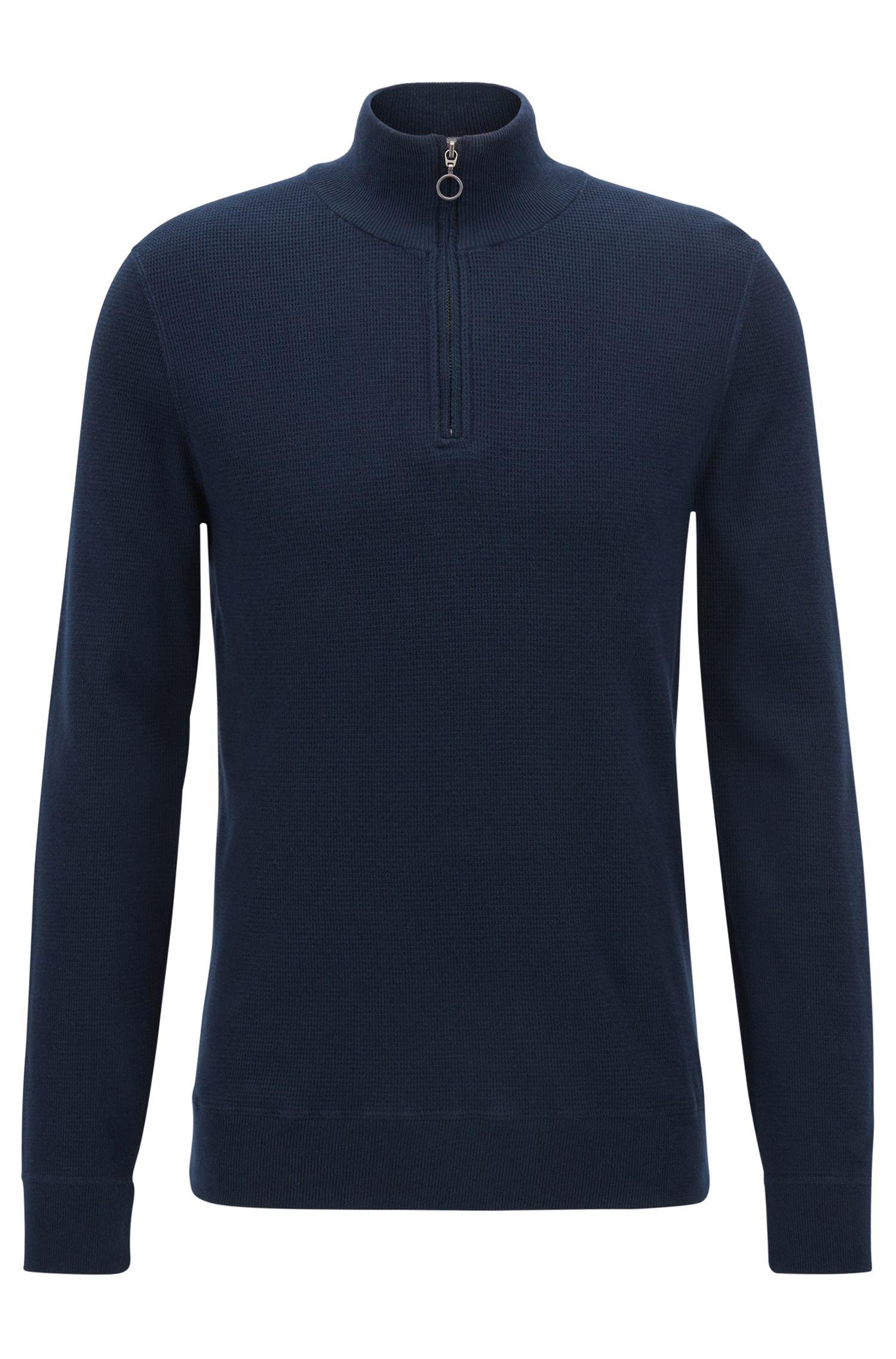 Jersey en algodón italiano de tres capas con cremallera en el cuello
