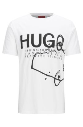 Regular-fit fashion show T-shirt in cotton, White