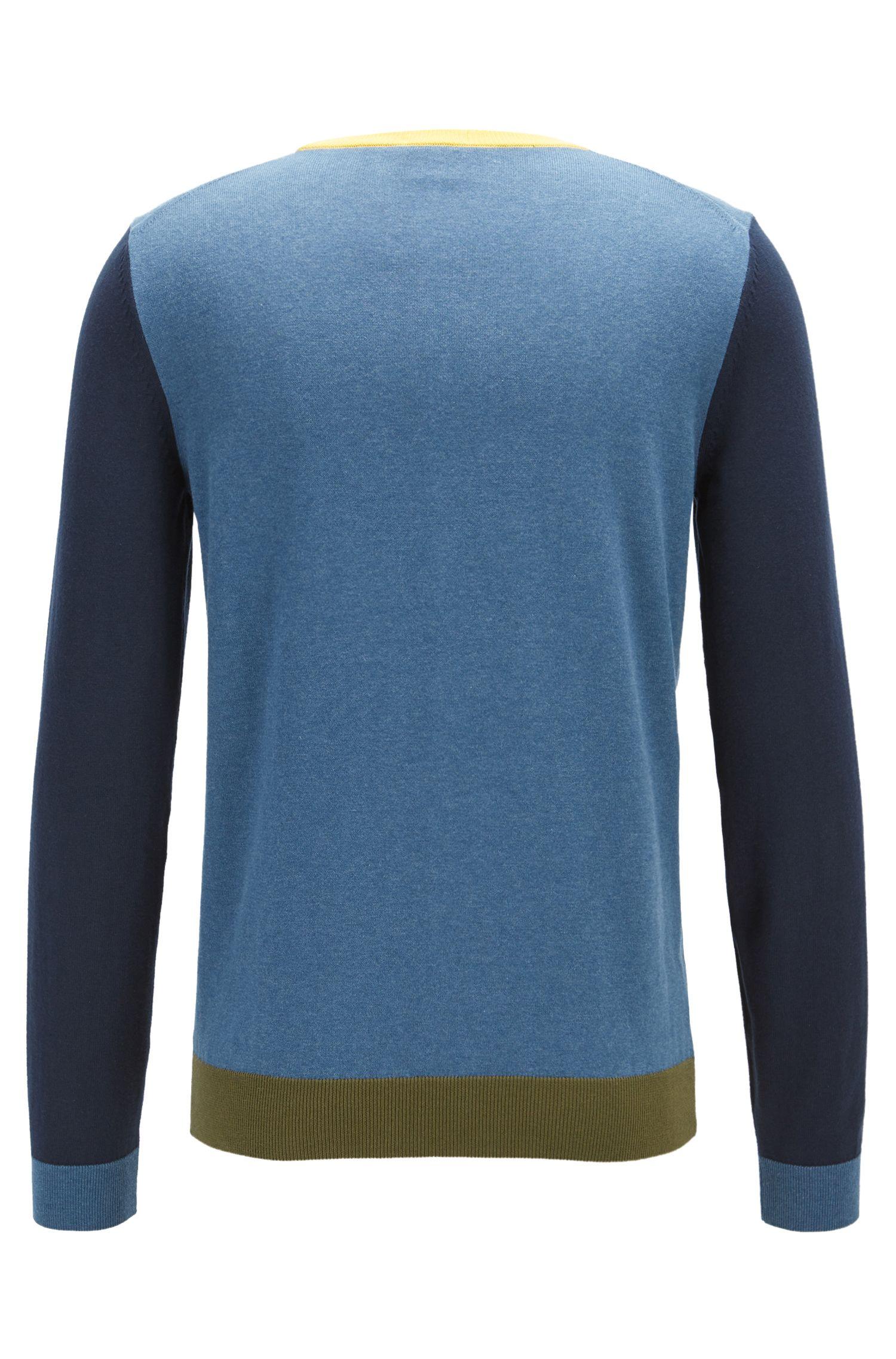 Jersey de manga larga con bloques de color en algodón egipcio