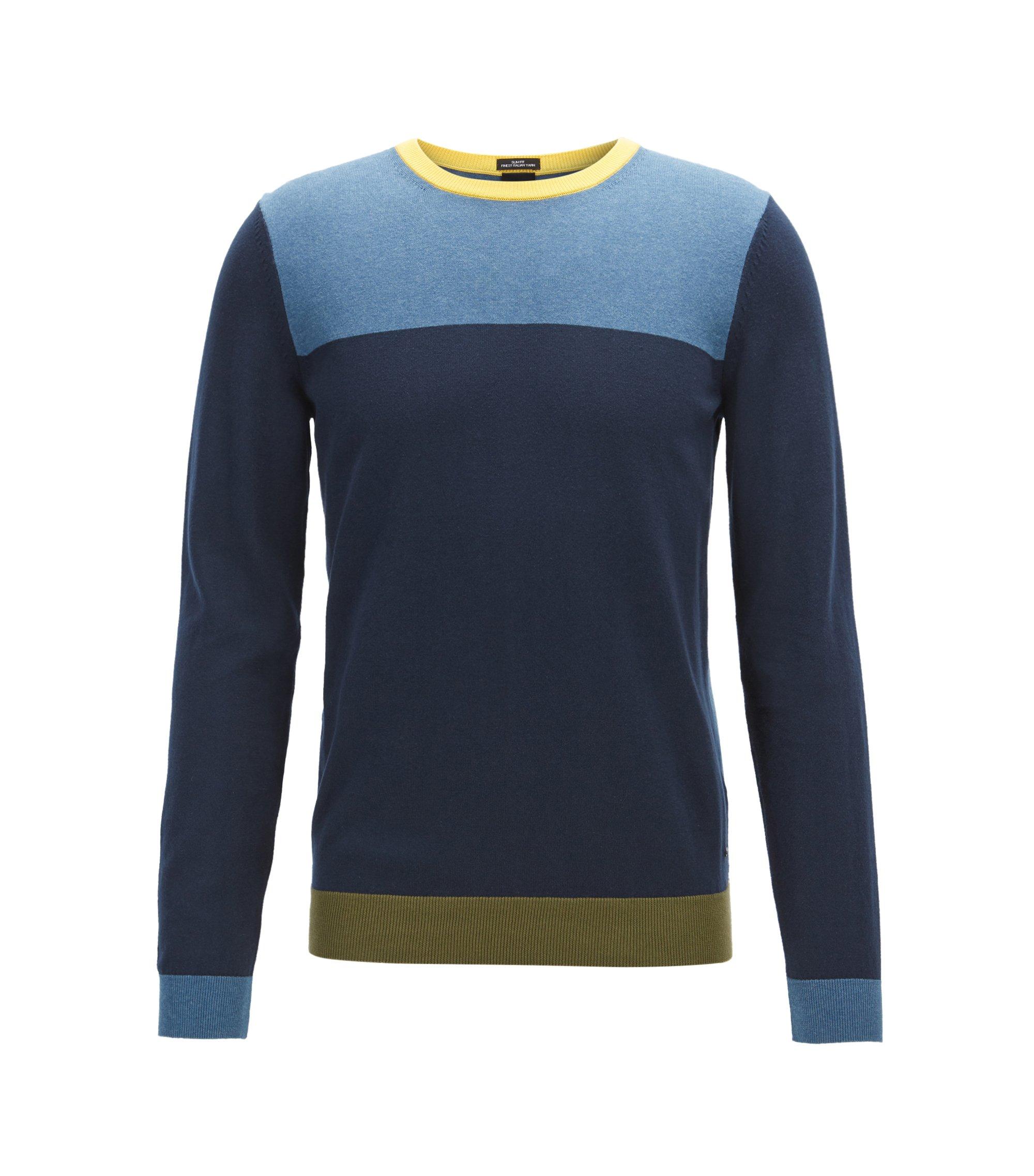 Jersey de manga larga con bloques de color en algodón egipcio, Azul oscuro