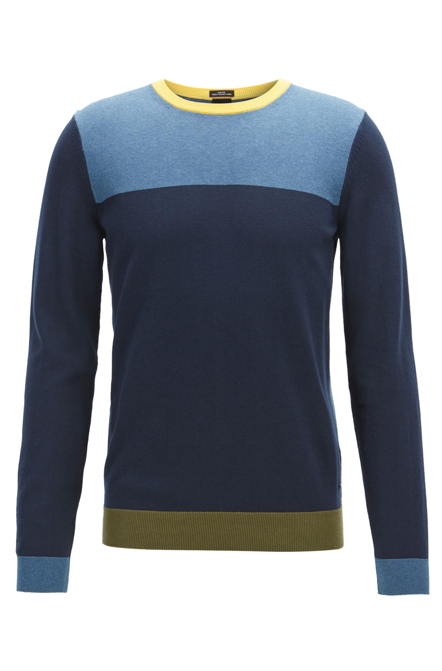 Long-sleeved colourblock sweater in Egyptian cotton