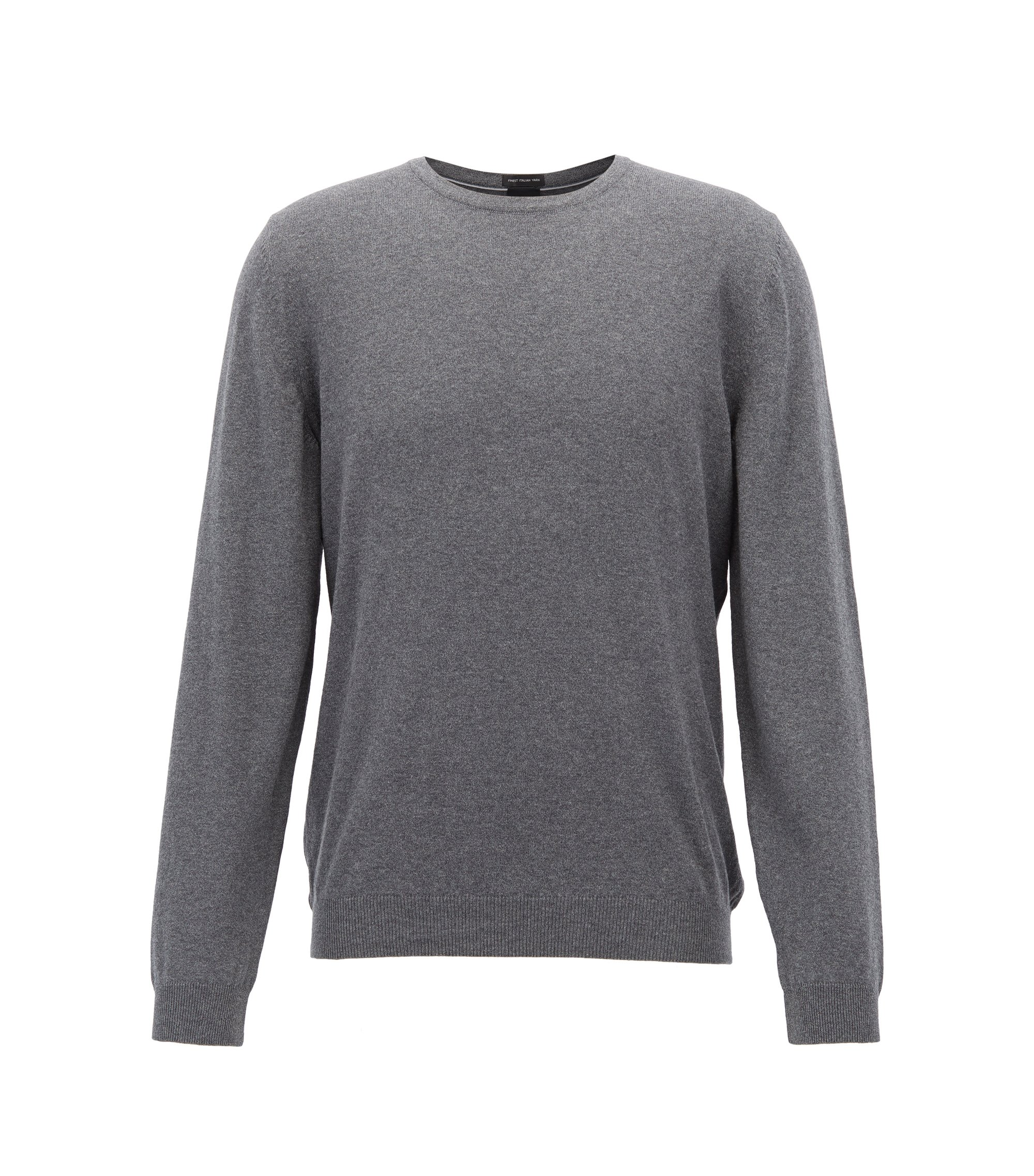 Crew-neck sweater in washed Egyptian cotton, Grey