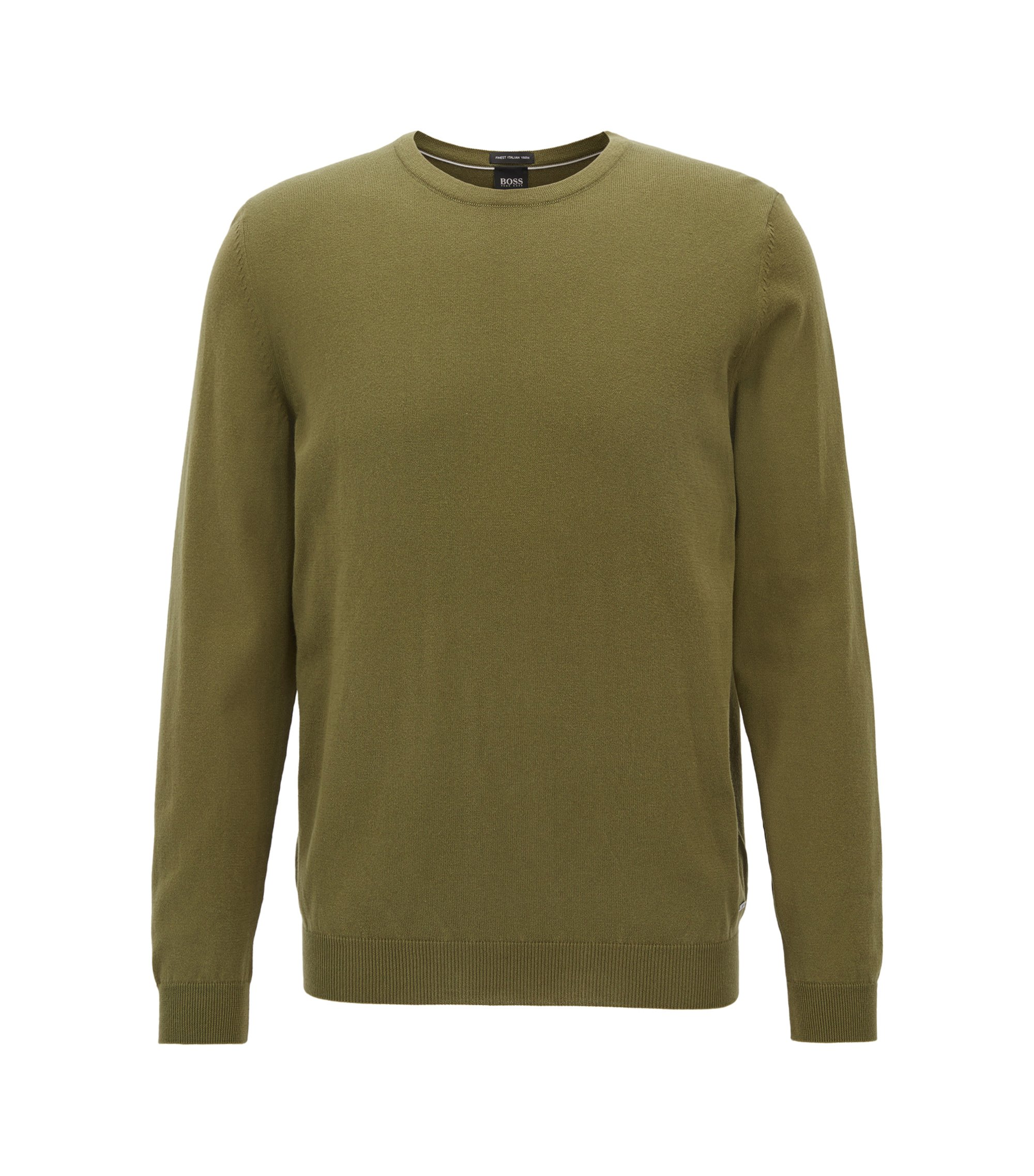 Crew-neck sweater in washed Egyptian cotton, Dark Green