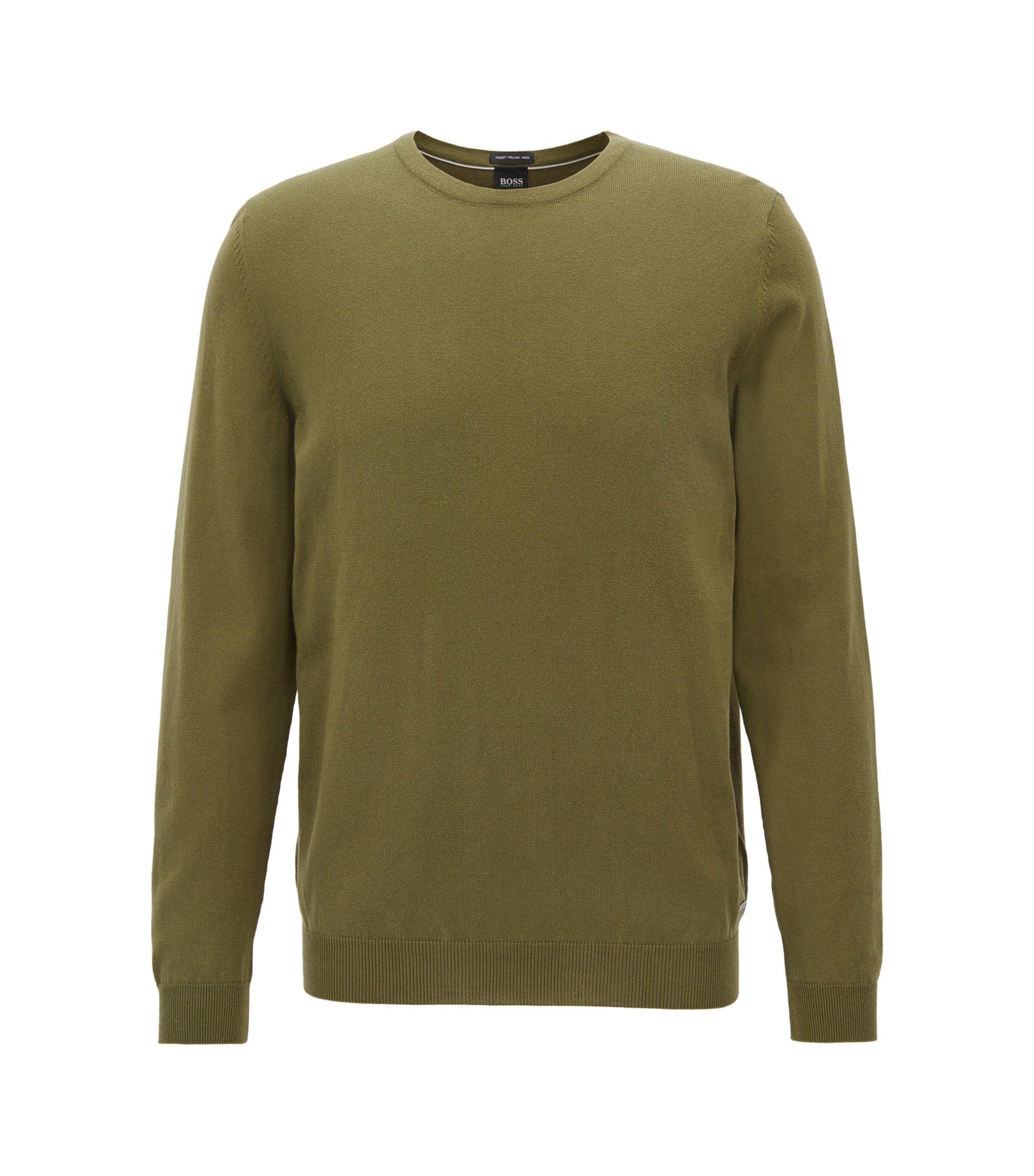 Pullover aus gewaschener, ägyptischer Baumwolle mit Rundhalsausschnitt, Dunkelgrün