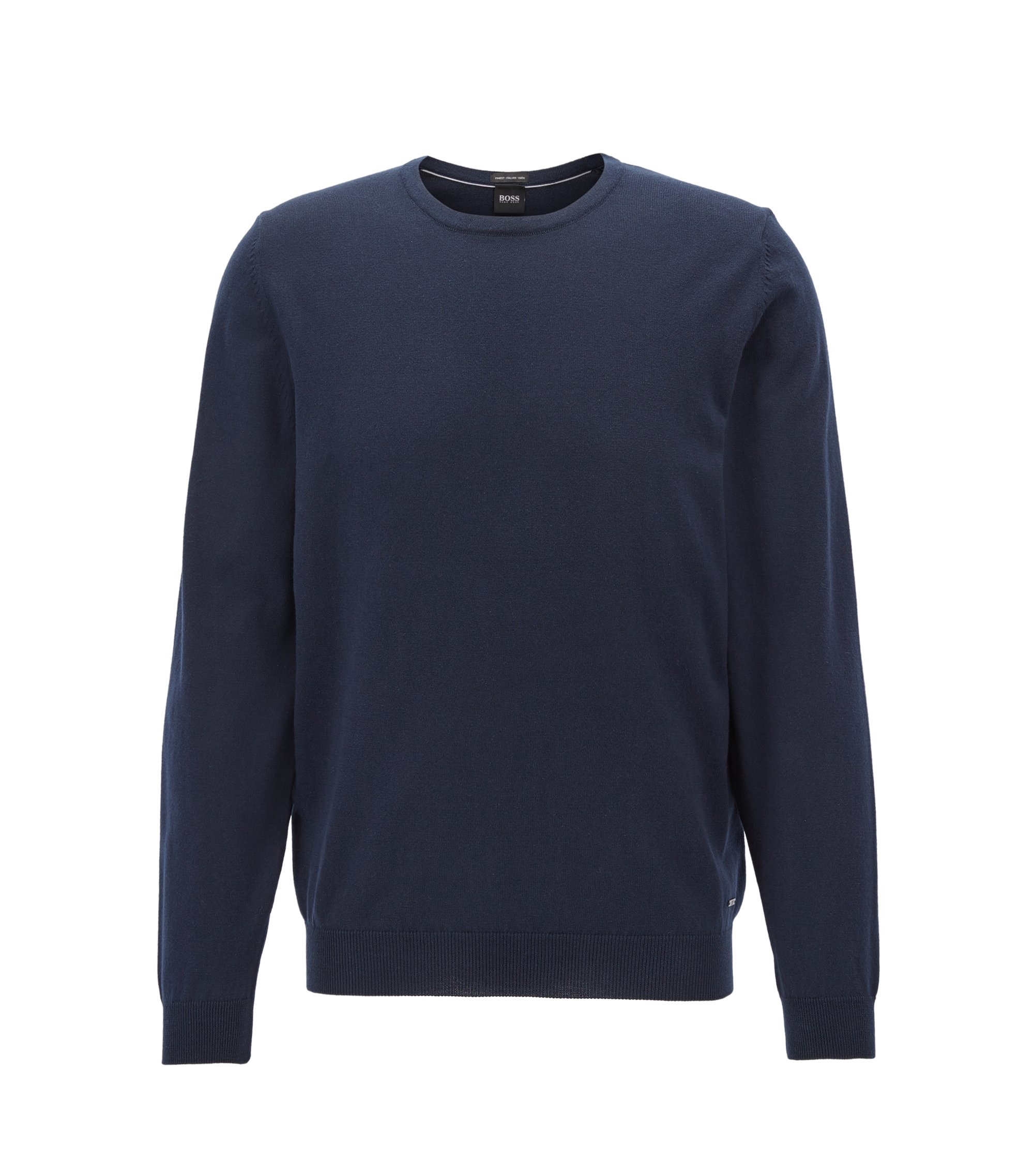 Crew-neck sweater in washed Egyptian cotton, Dark Blue