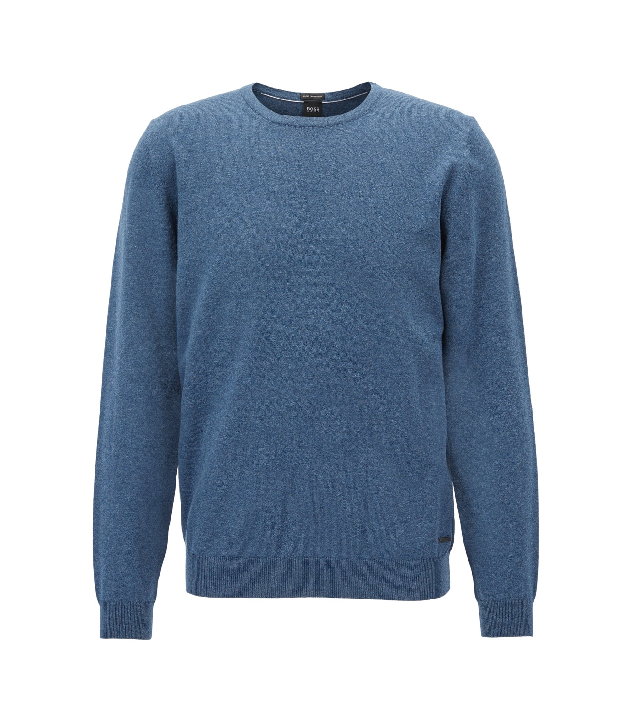 Crew-neck sweater in washed Egyptian cotton, Blue