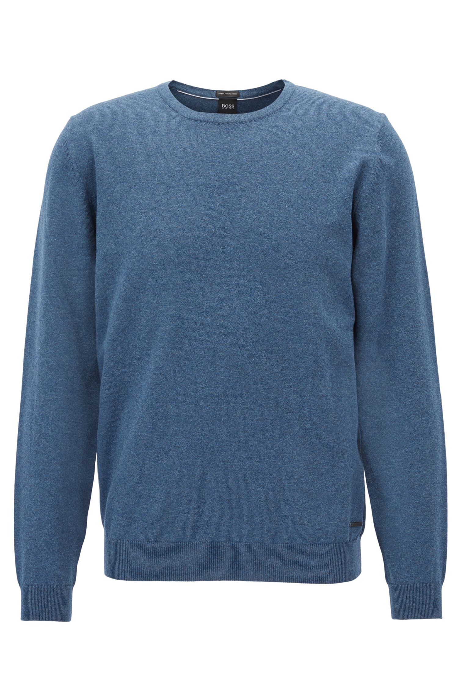 Crew-neck sweater in washed Egyptian cotton