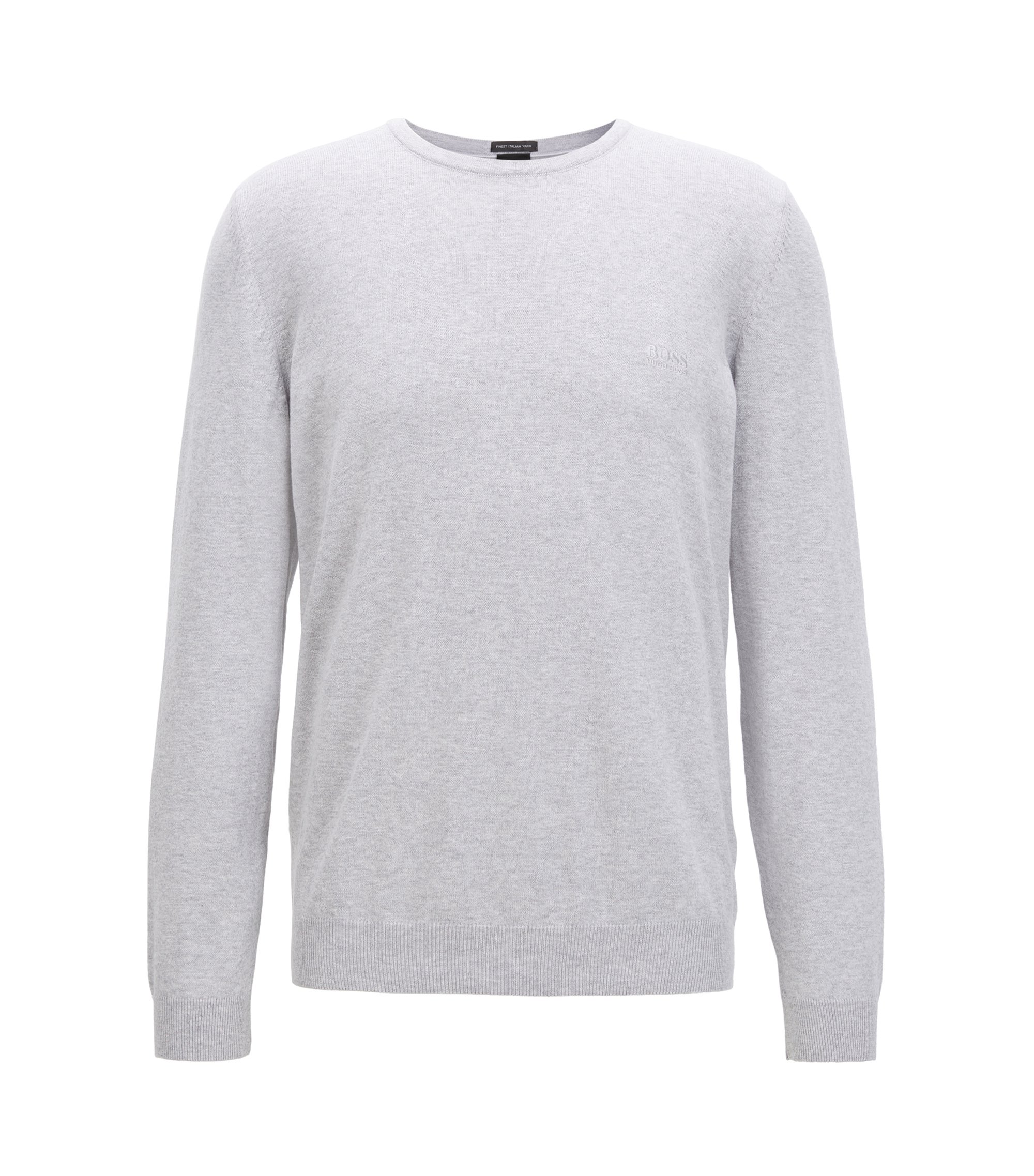 Crew-neck sweater in soft-washed Egyptian cotton, Light Grey