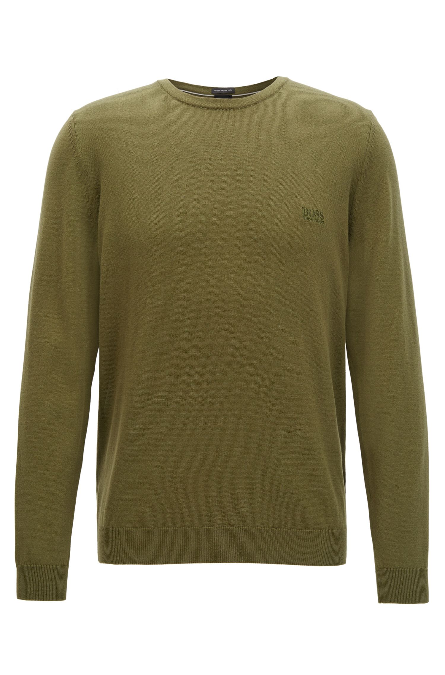 Crew-neck sweater in soft-washed Egyptian cotton, Dark Green