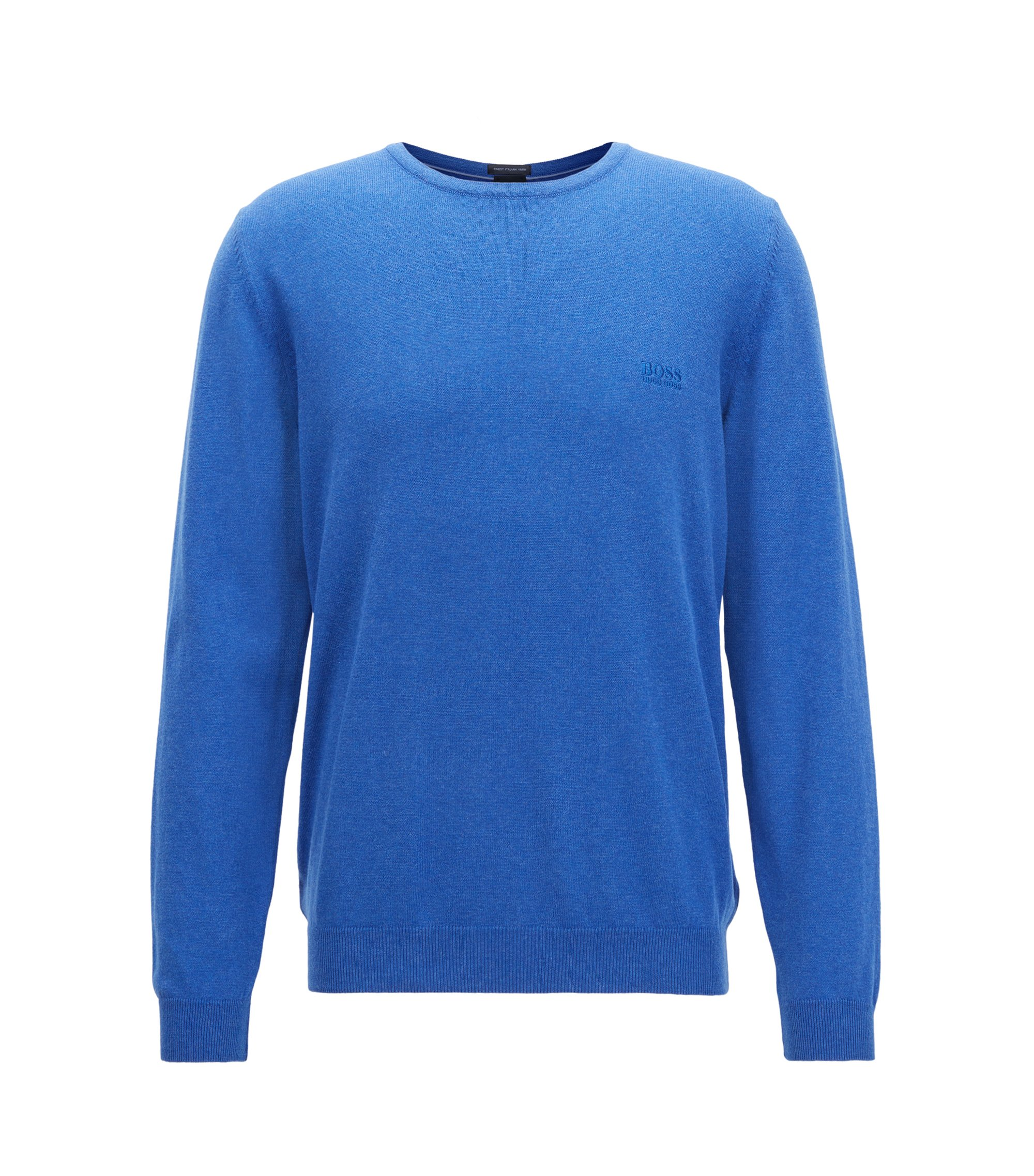 Crew-neck sweater in soft-washed Egyptian cotton, Blue