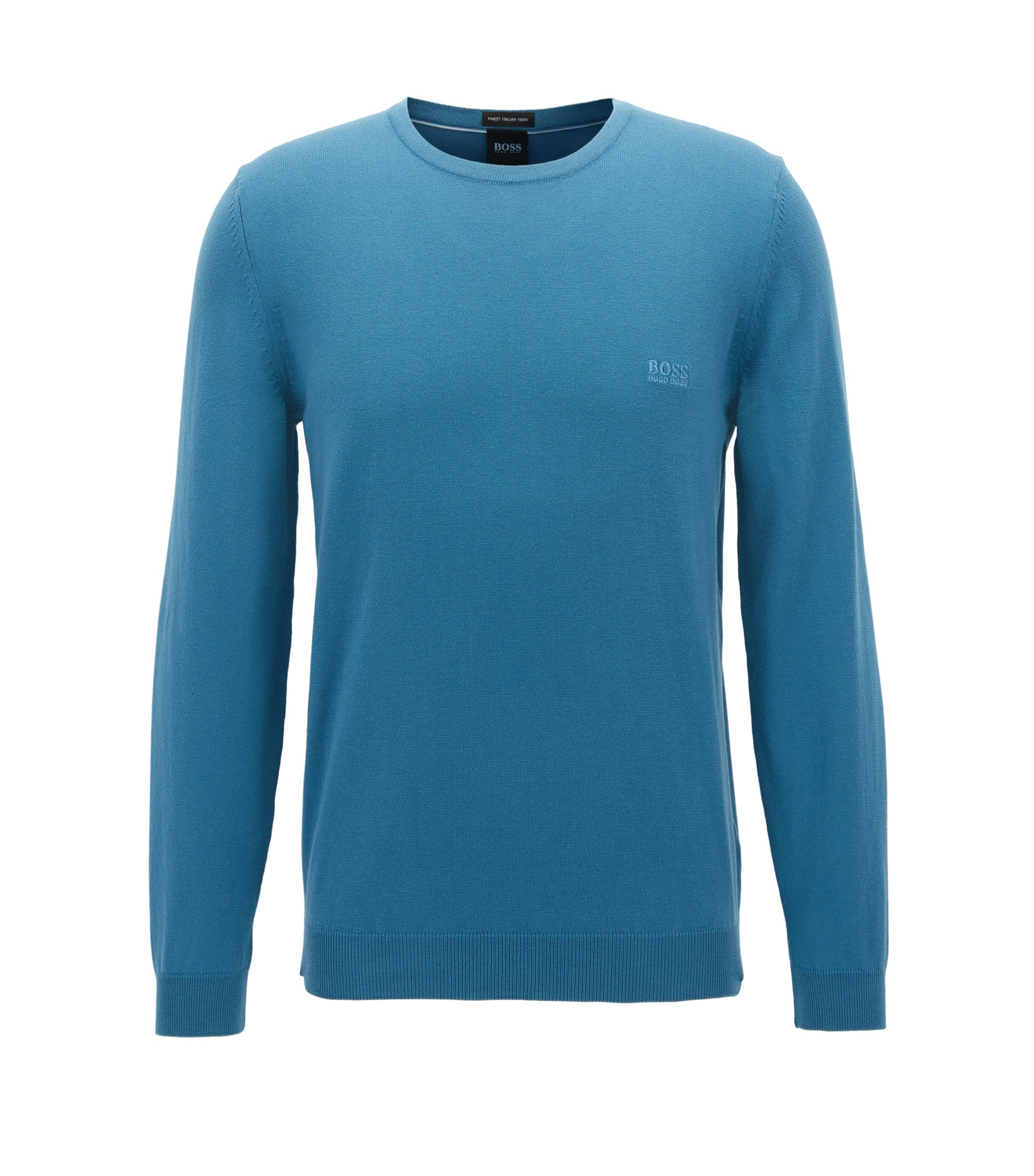 Crew-neck sweater in soft-washed Egyptian cotton, Turquoise