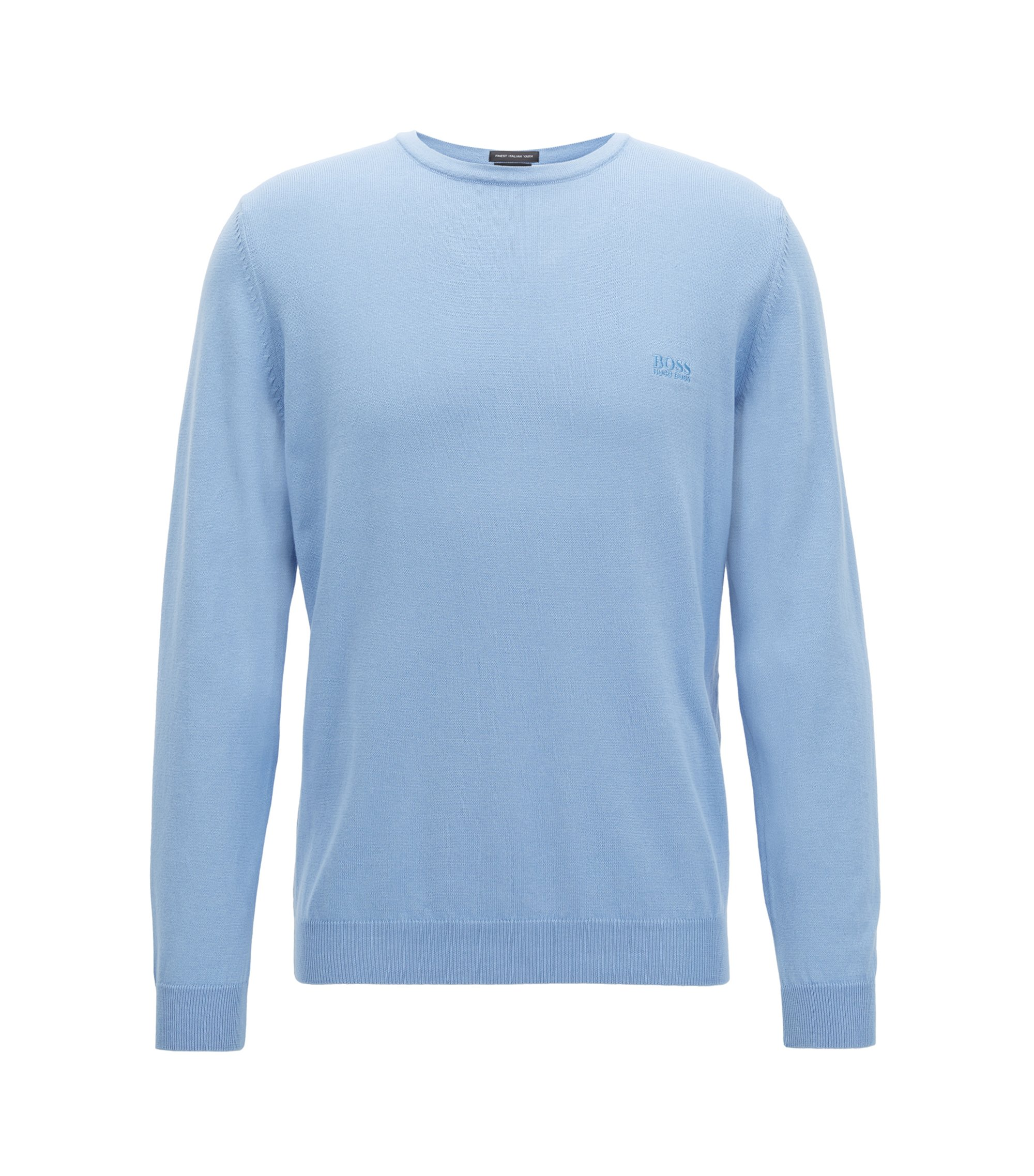 Crew-neck sweater in soft-washed Egyptian cotton, Light Blue