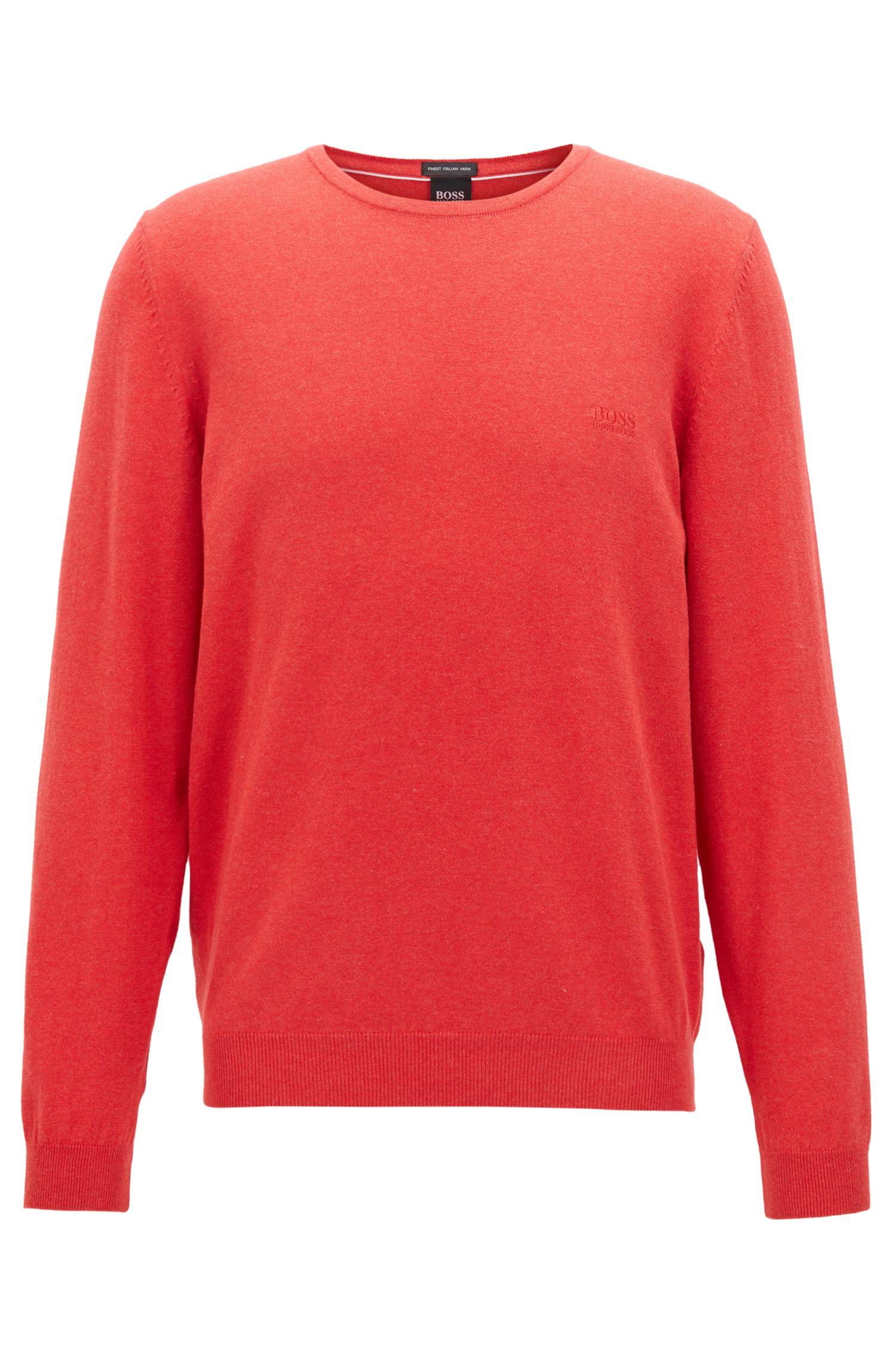 Jersey de cuello redondo en algodón egipcio con un suave lavado, Naranja oscuro