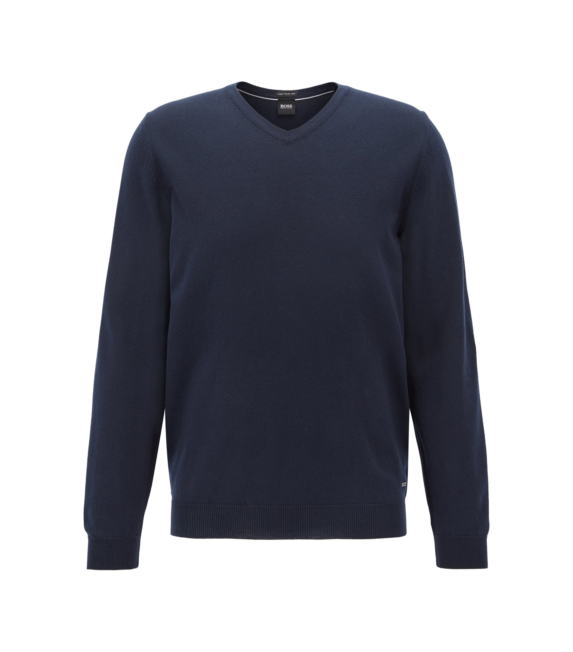 V-neck sweater in Egyptian cotton, Dark Blue