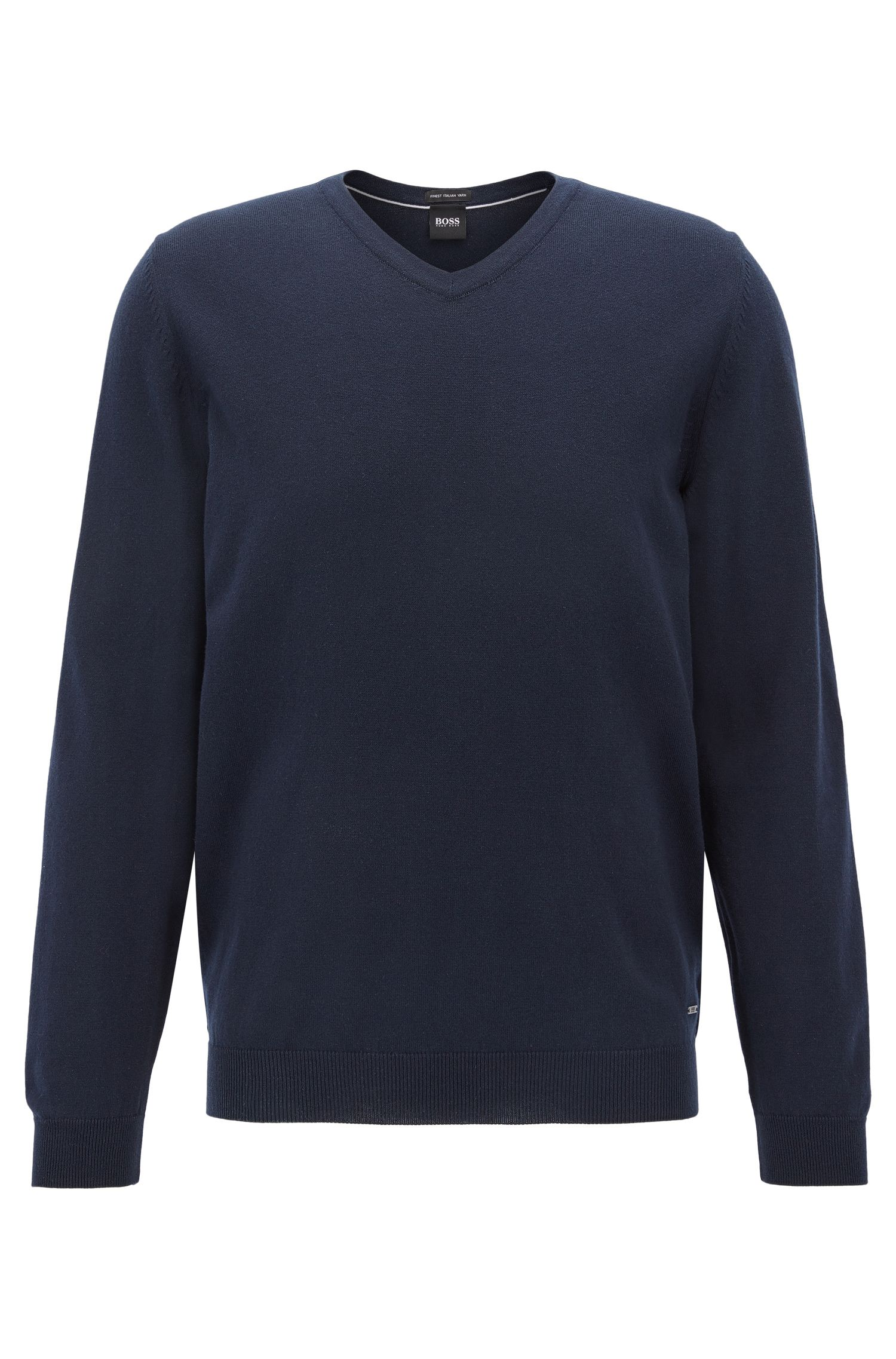 V-neck sweater in Egyptian cotton