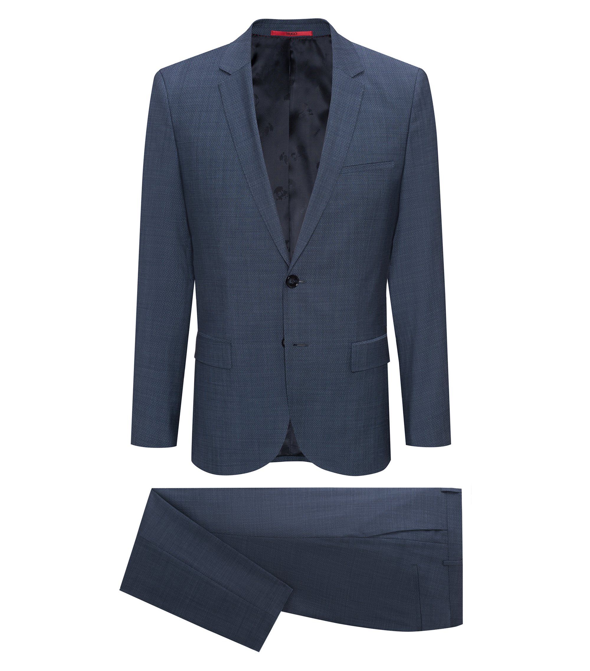 Extra-slim-fit suit in micro-pattern virgin wool, Turquoise