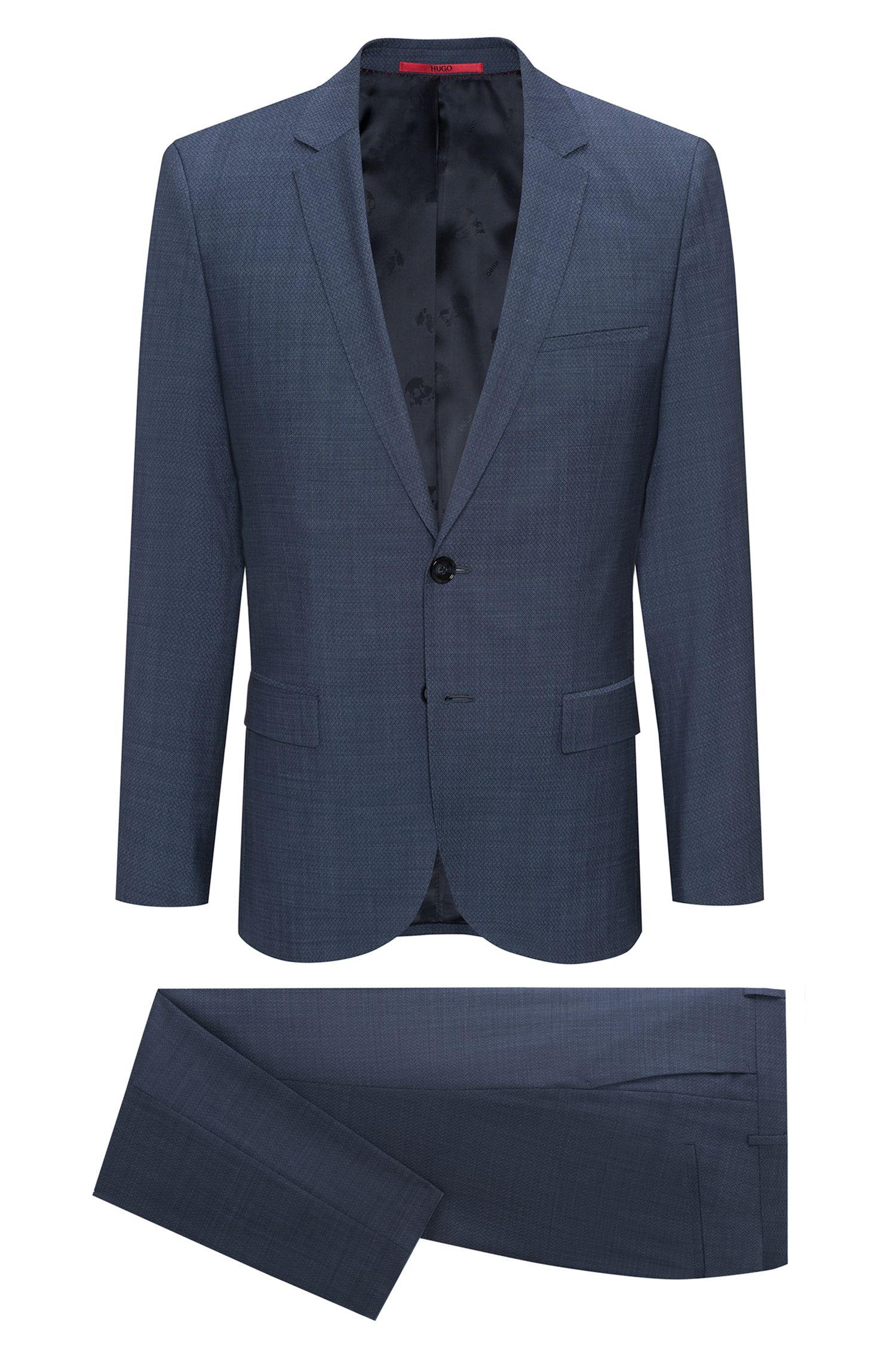 Extra-slim-fit suit in micro-pattern virgin wool