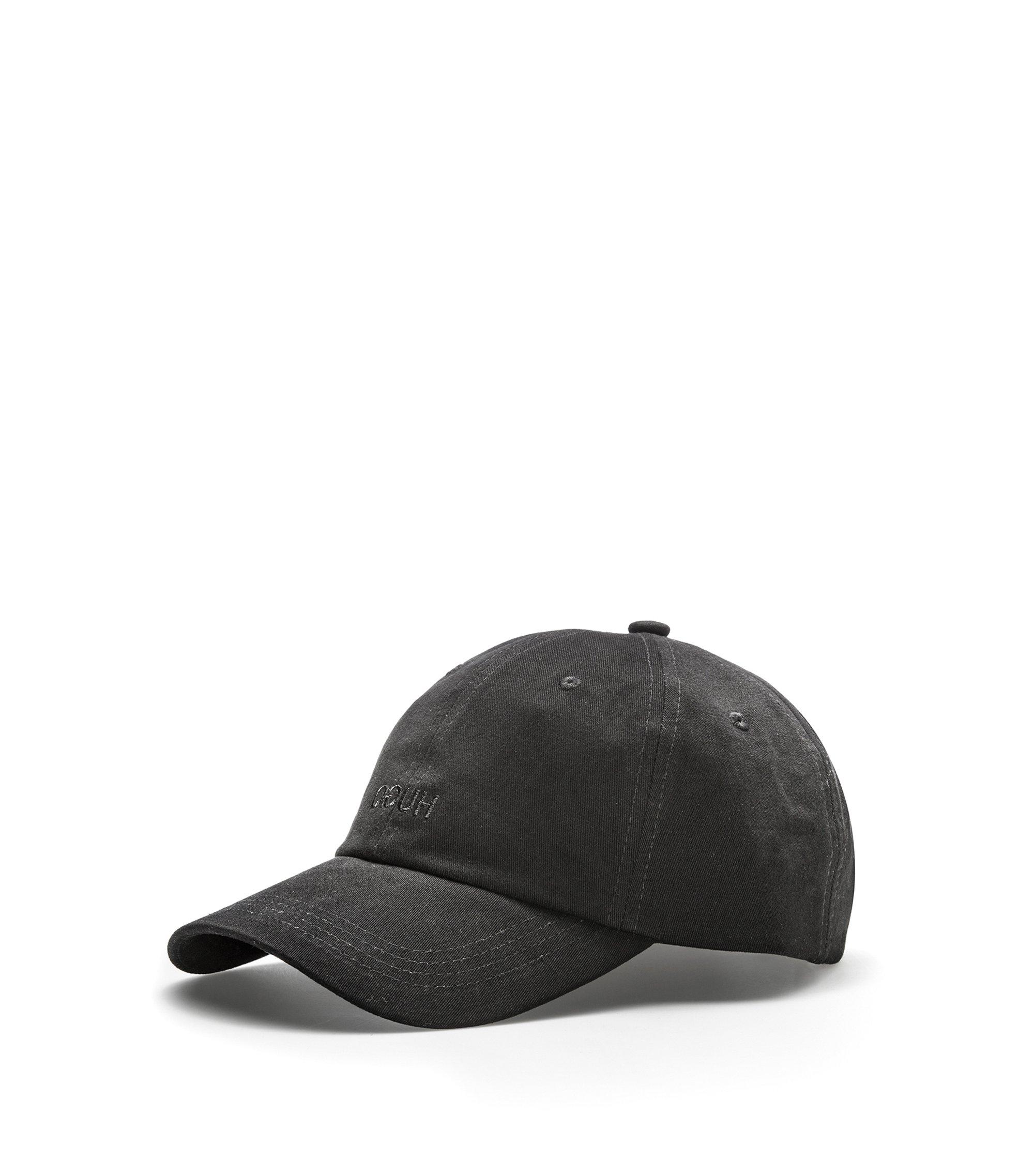 Baseballpet van katoen met gespiegeld logo, Zwart