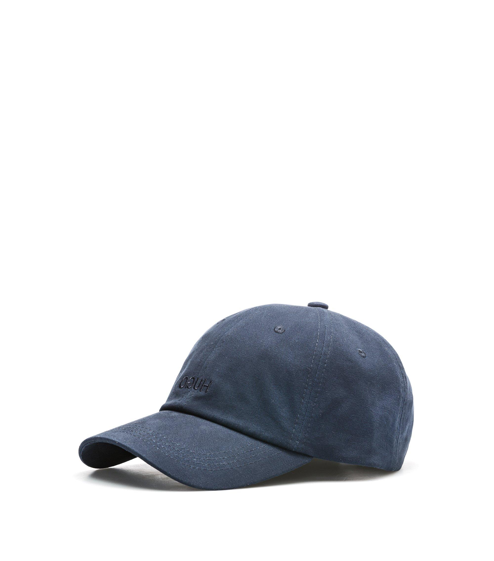 Casquette de base-ball en coton à logo inversé, Bleu foncé