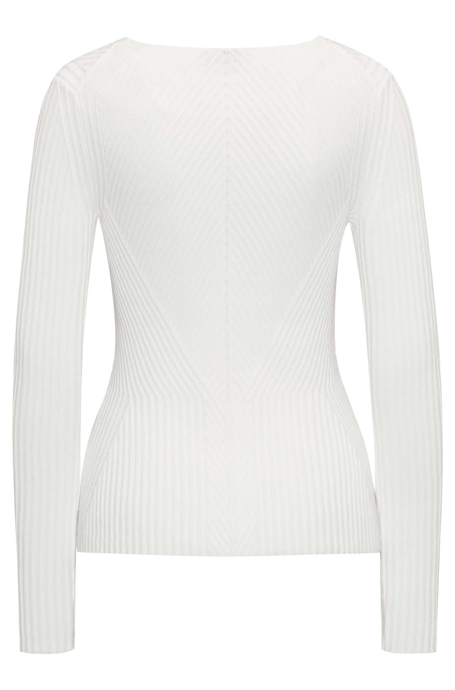 V-neck peplum sweater in an engineered ribbed structure