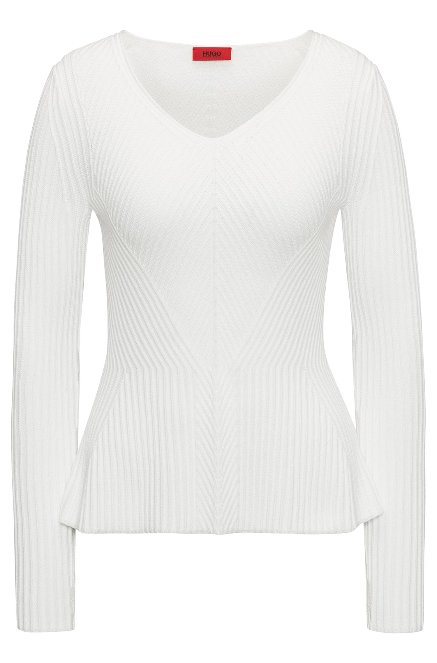 V-neck peplum sweater in an engineered ribbed structure, White