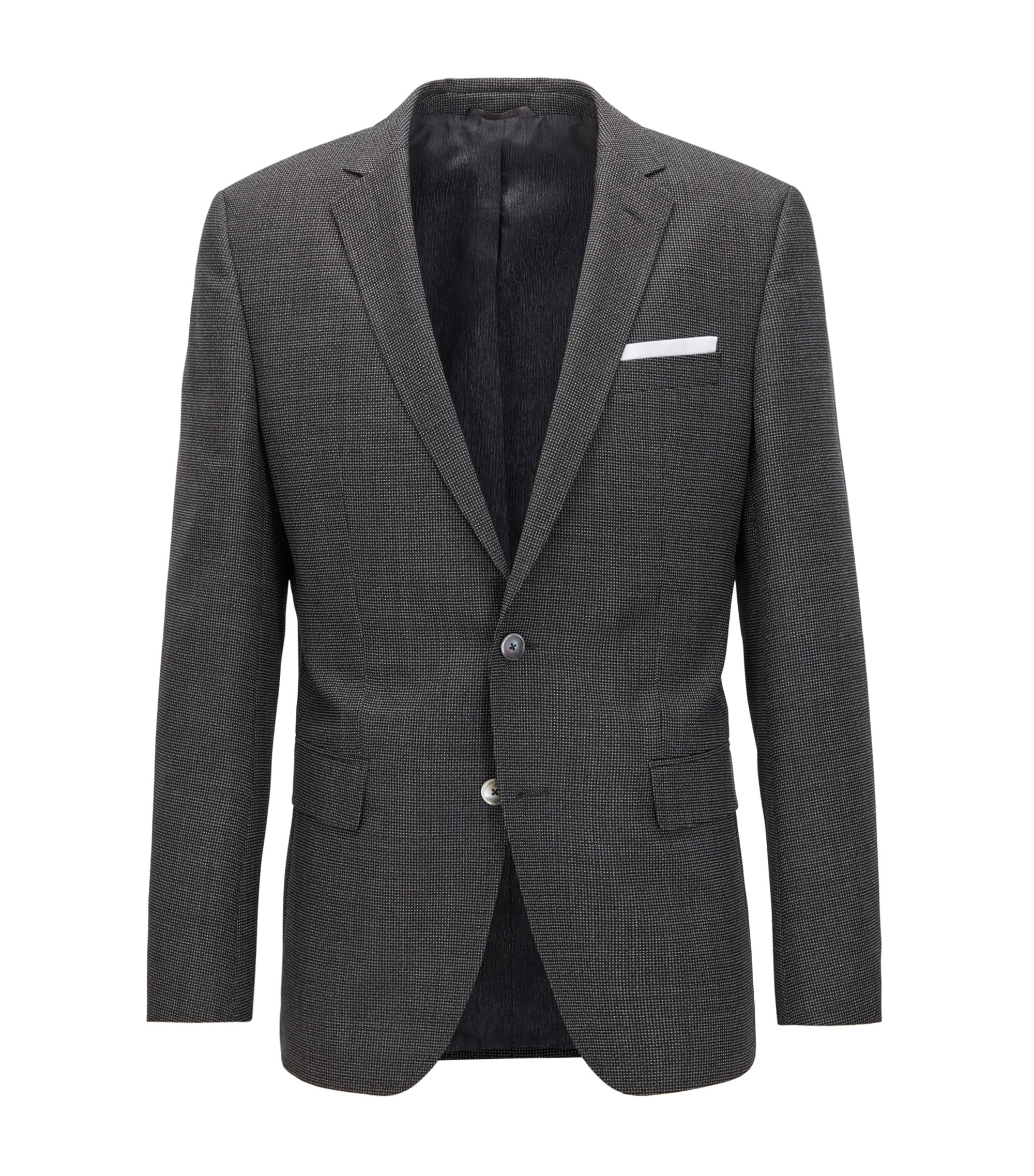 Slim-fit blazer in mélange virgin wool, Dark Grey