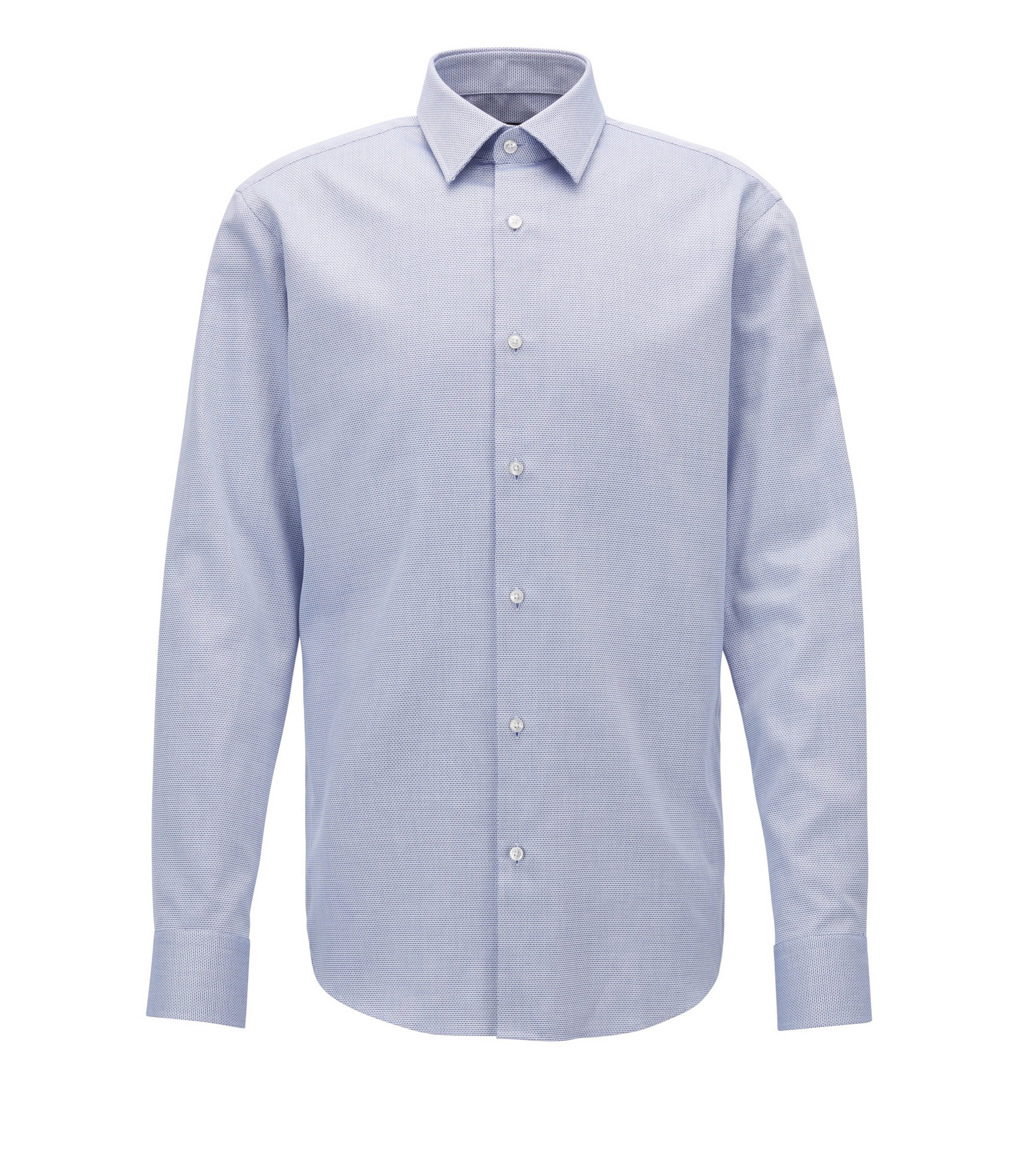 Regular-fit formal shirt in structured cotton, Blue