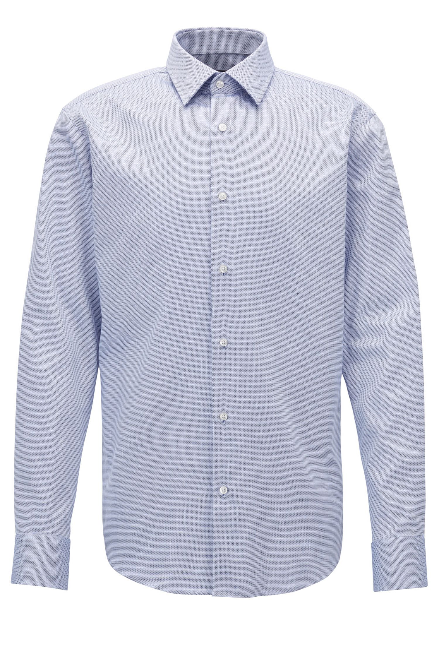 Camisa formal regular fit de algodón con textura