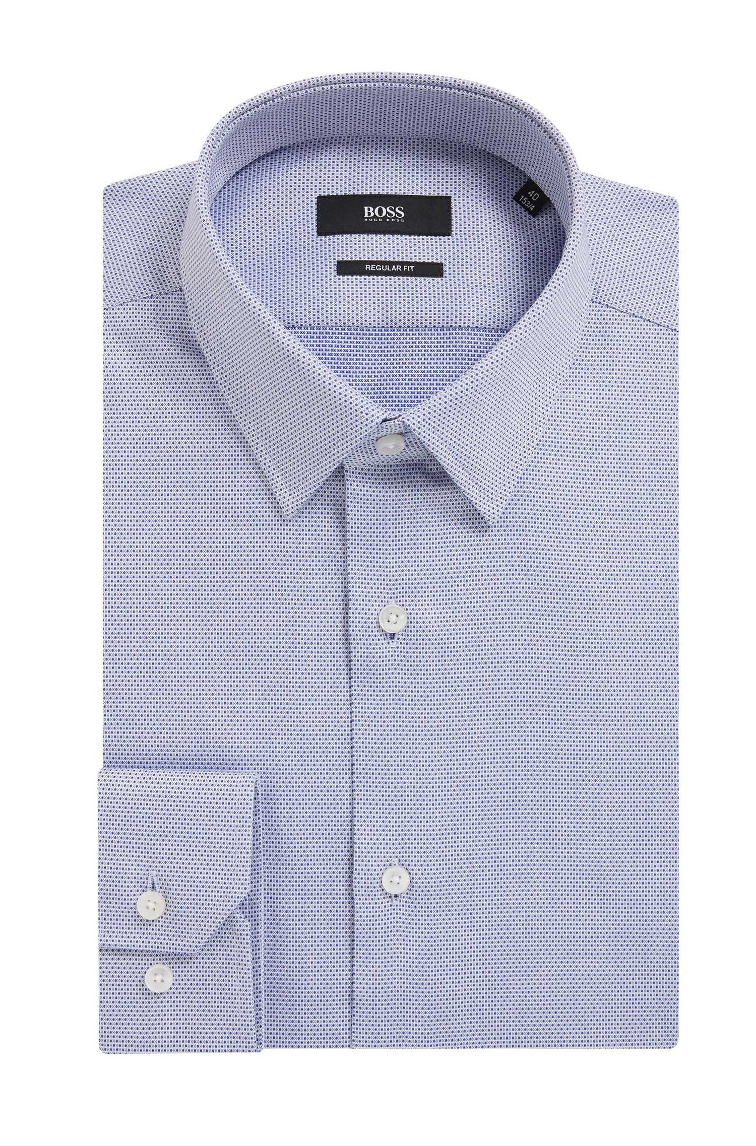 Regular-fit formal shirt in structured cotton