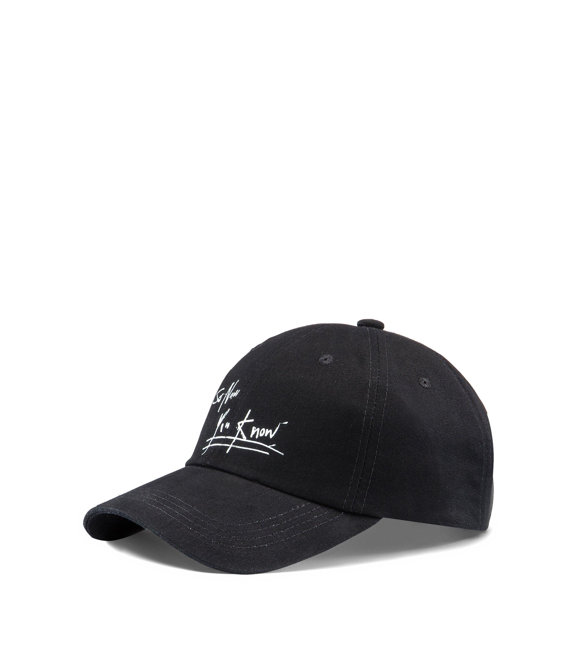 Gorra de béisbol en sarga de algodón con eslogan de arte callejero, Negro