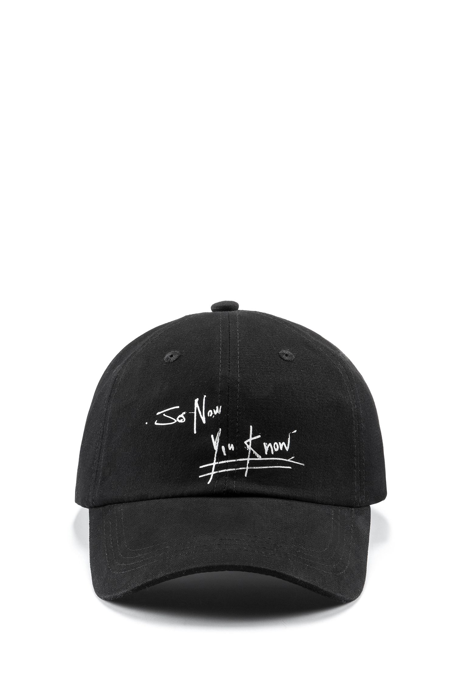 Cotton-twill baseball cap with street-art slogan