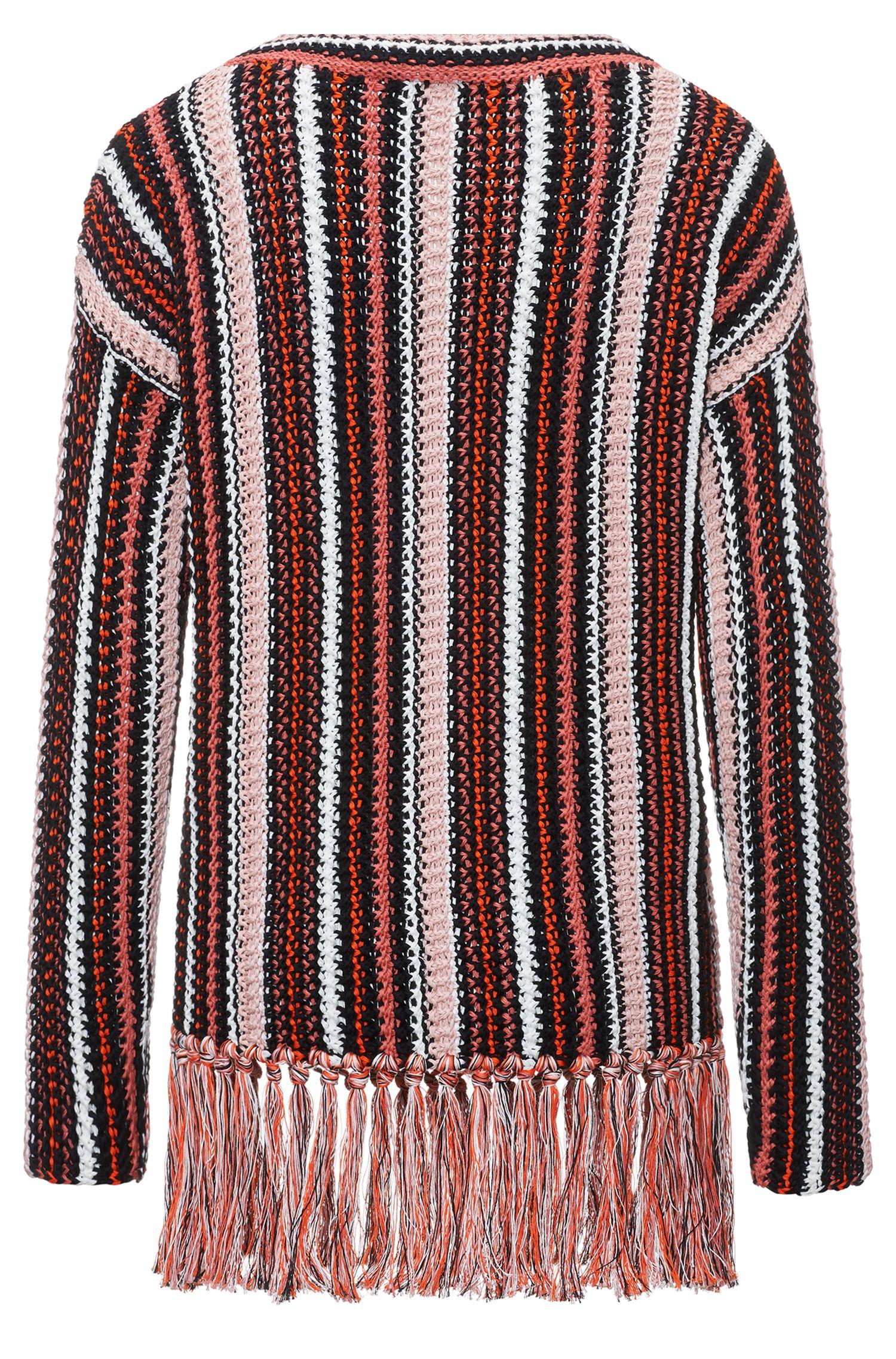 Pull oversize à rayures en coton avec franges confectionnées à la main