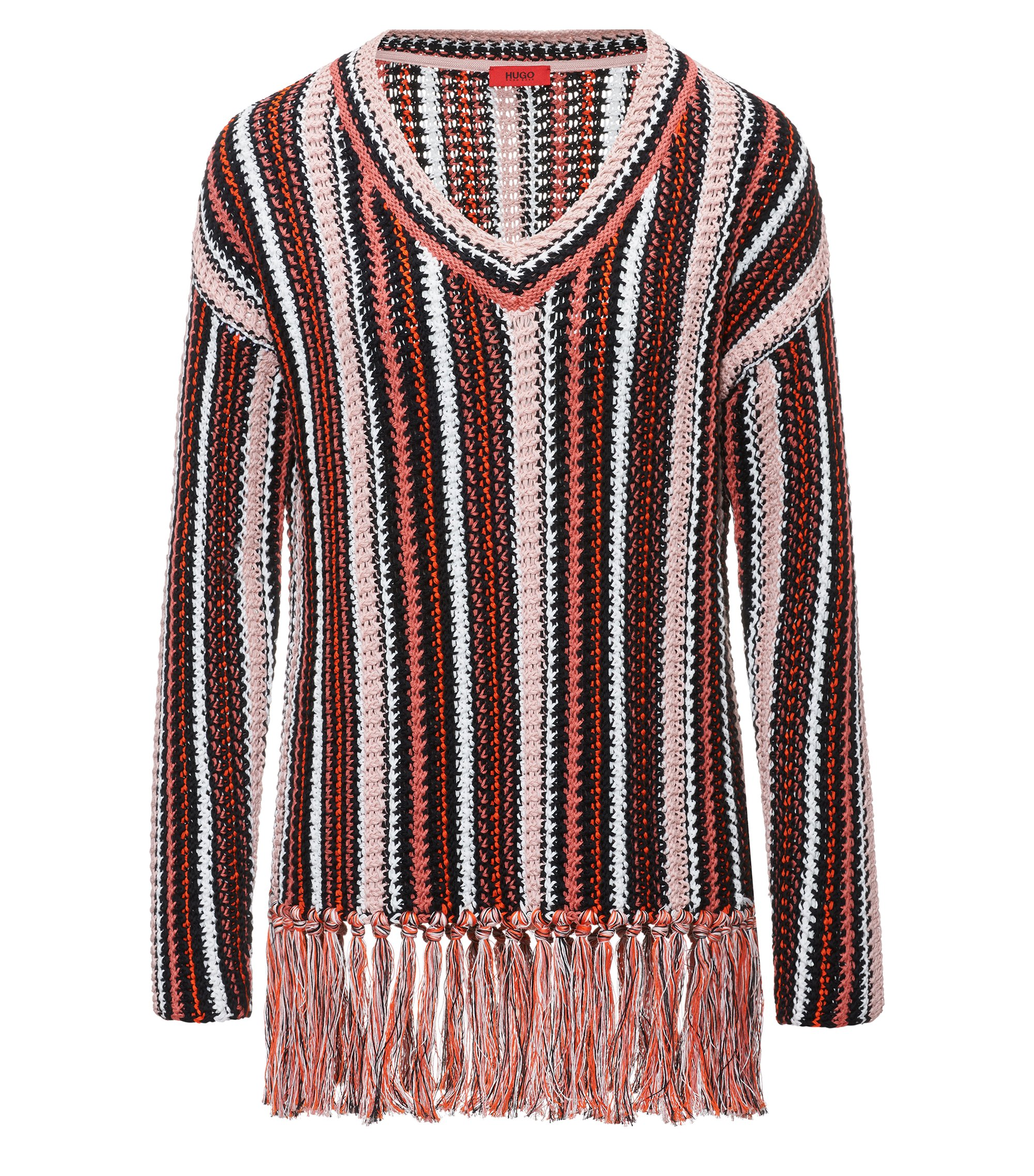 Oversized striped cotton sweater with handcrafted fringing, Patterned