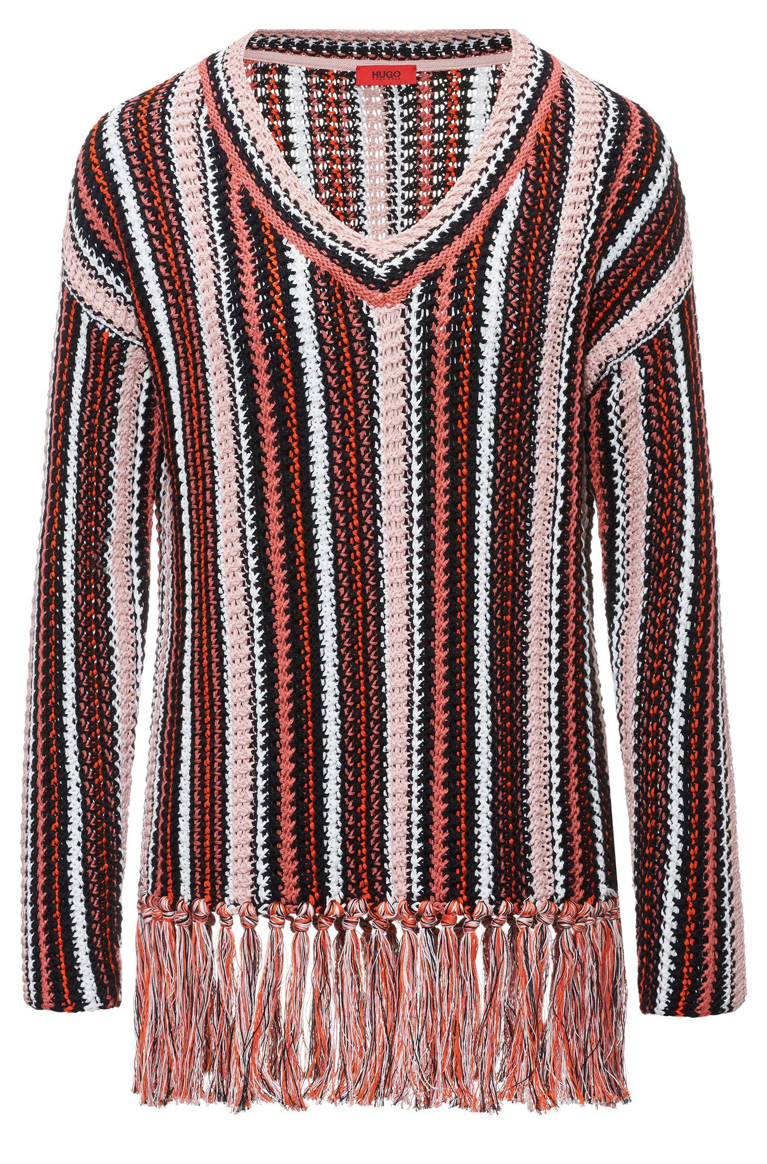 Gestreifter Oversized Pullover aus Baumwolle mit Fransen
