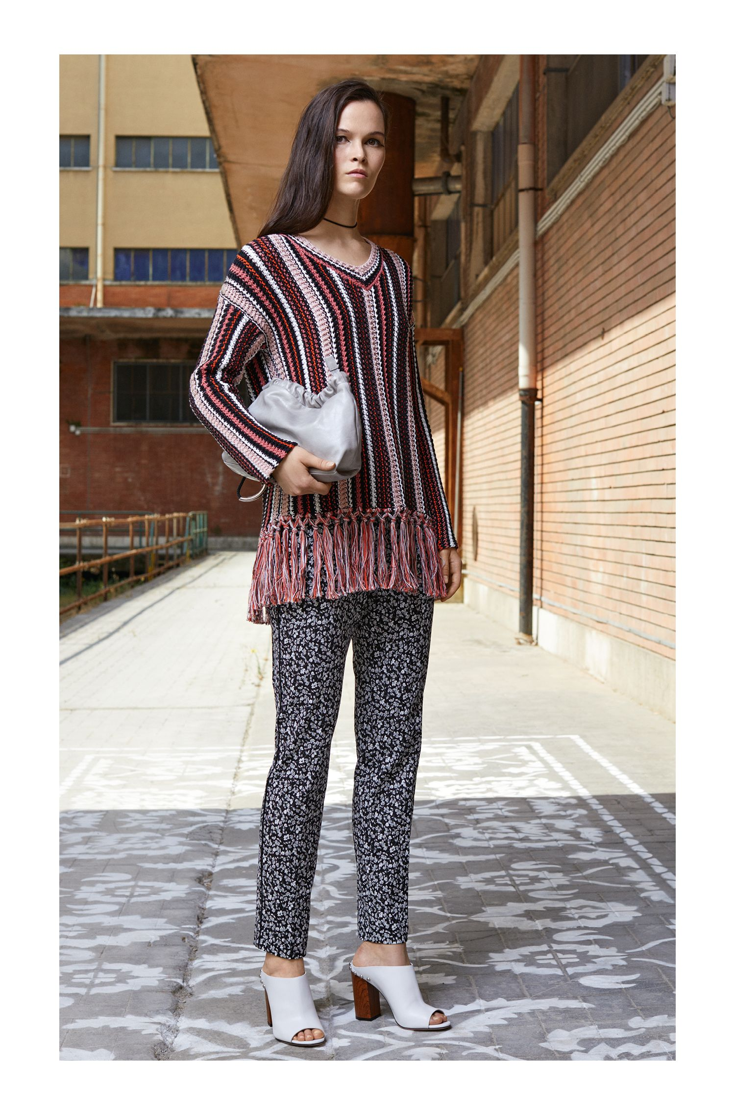 Oversized striped cotton sweater with handcrafted fringing