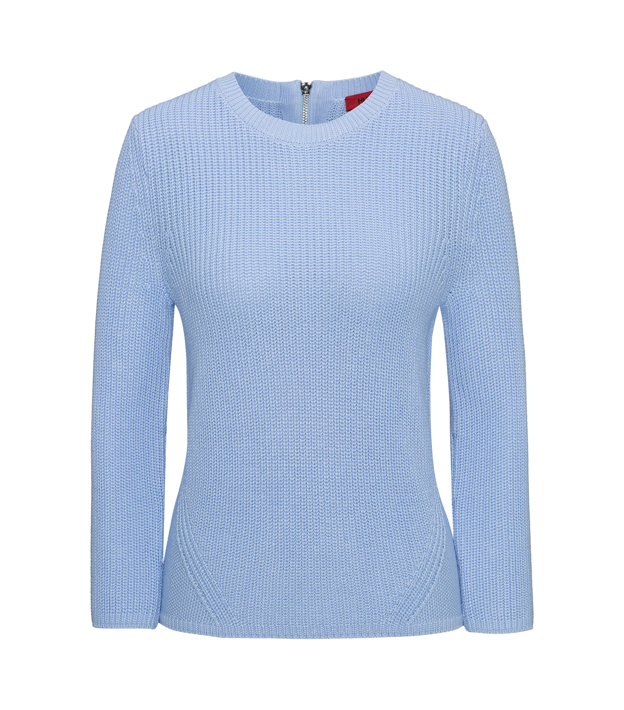 Half-cardigan knitted sweater in pure cotton, Light Blue